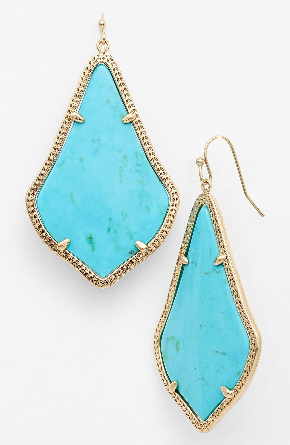 'Alexandra' Large Drop Earrings,                             Main thumbnail 1, color,                             Turquoise Magnesite/ Gold
