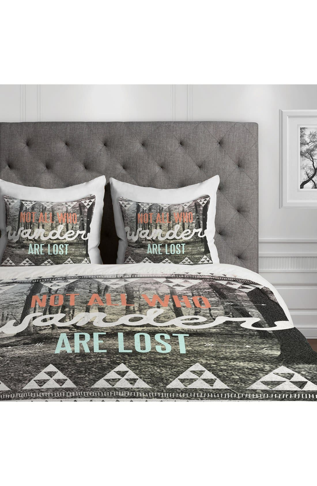 Wander Duvet Cover & Sham Set,                             Alternate thumbnail 3, color,                             Grey