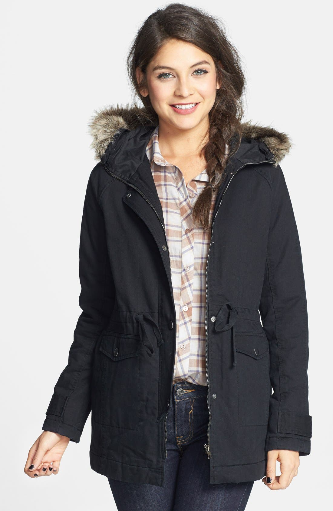 Alternate Image 1 Selected - Rubbish Cinch Waist Cotton Parka (Juniors)