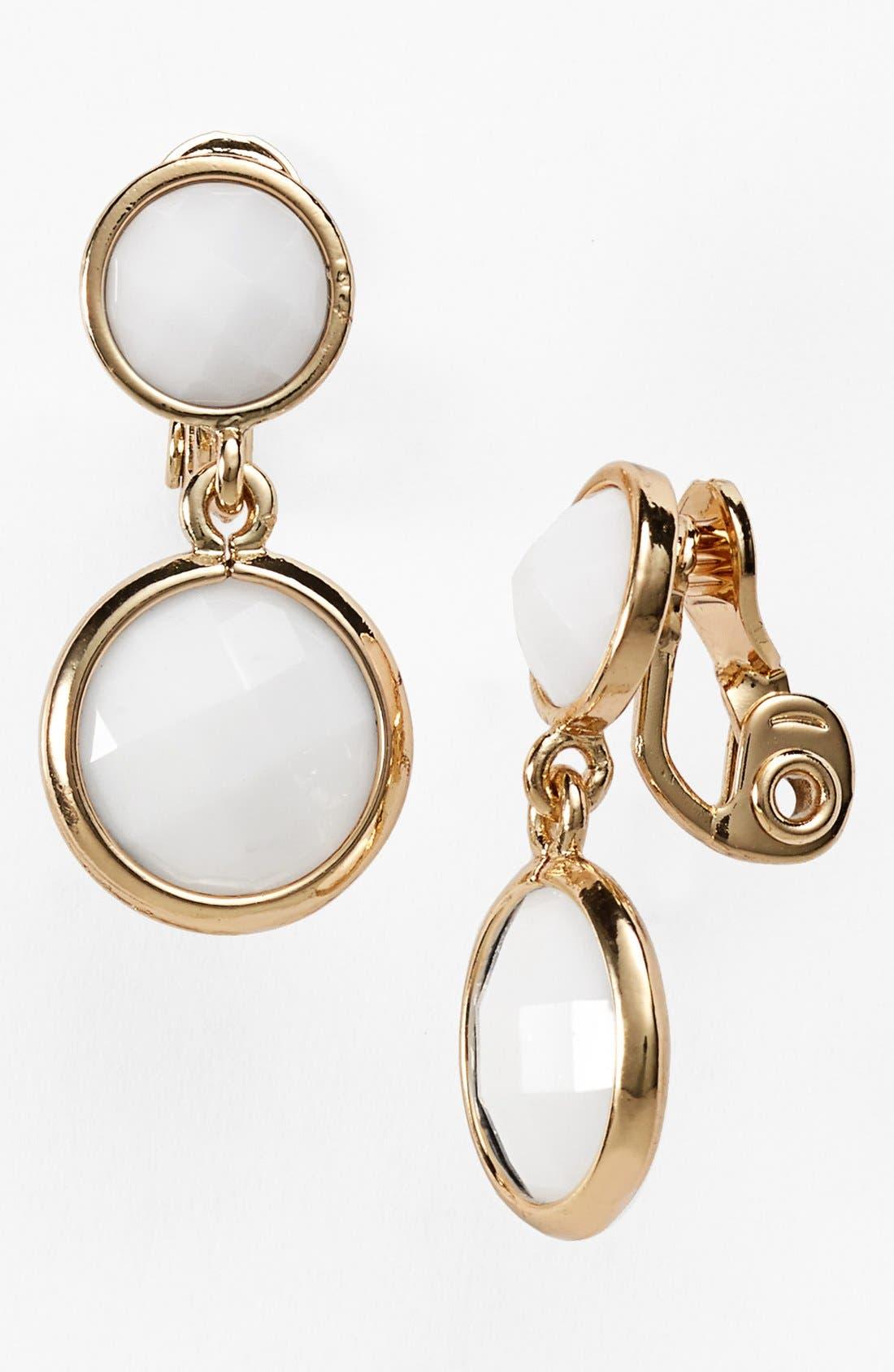 Alternate Image 1 Selected - Anne Klein Stone Drop Clip Earrings
