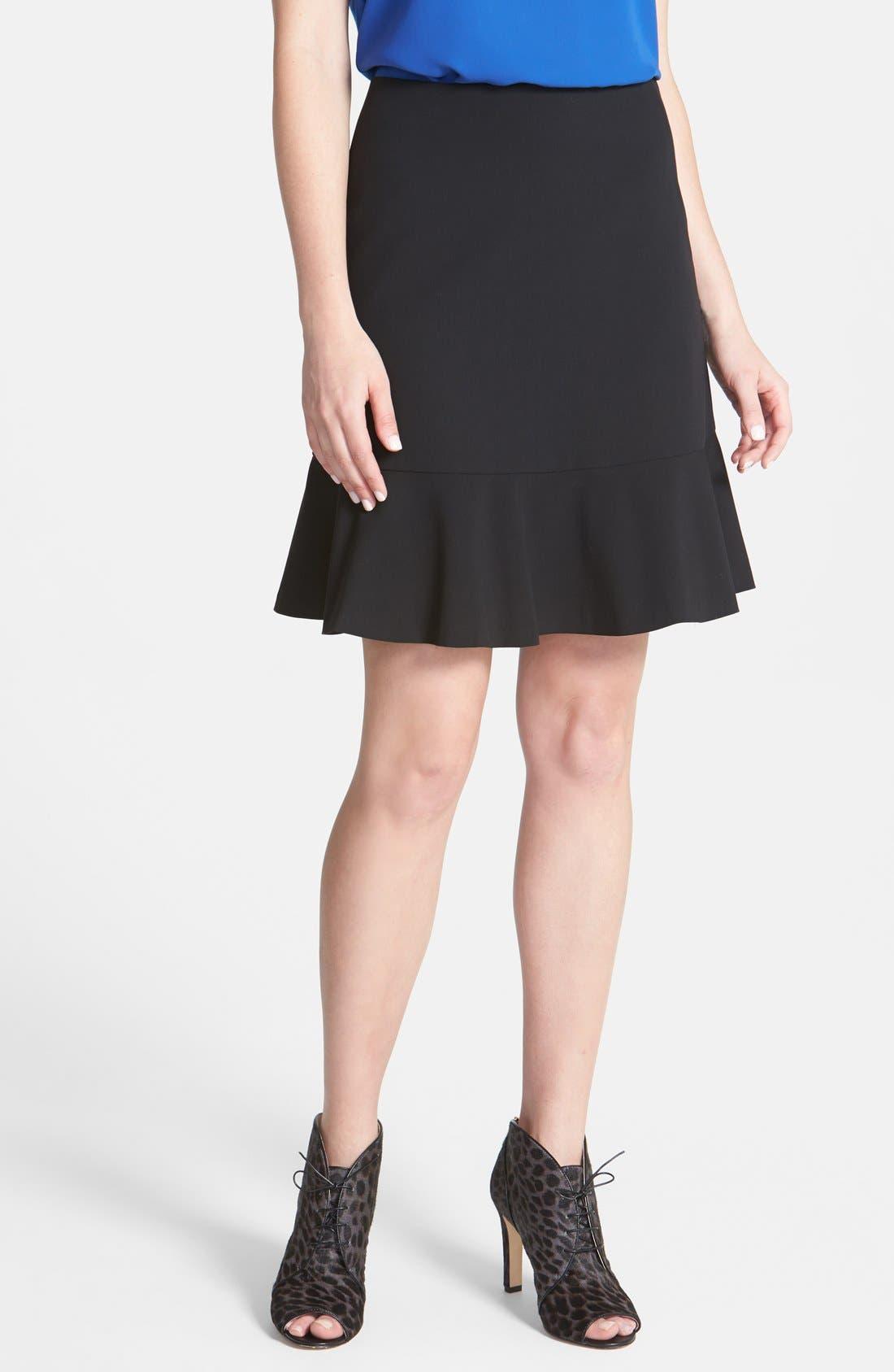 Alternate Image 1 Selected - Vince Camuto Ruffle Hem Skirt (Regular & Petite)