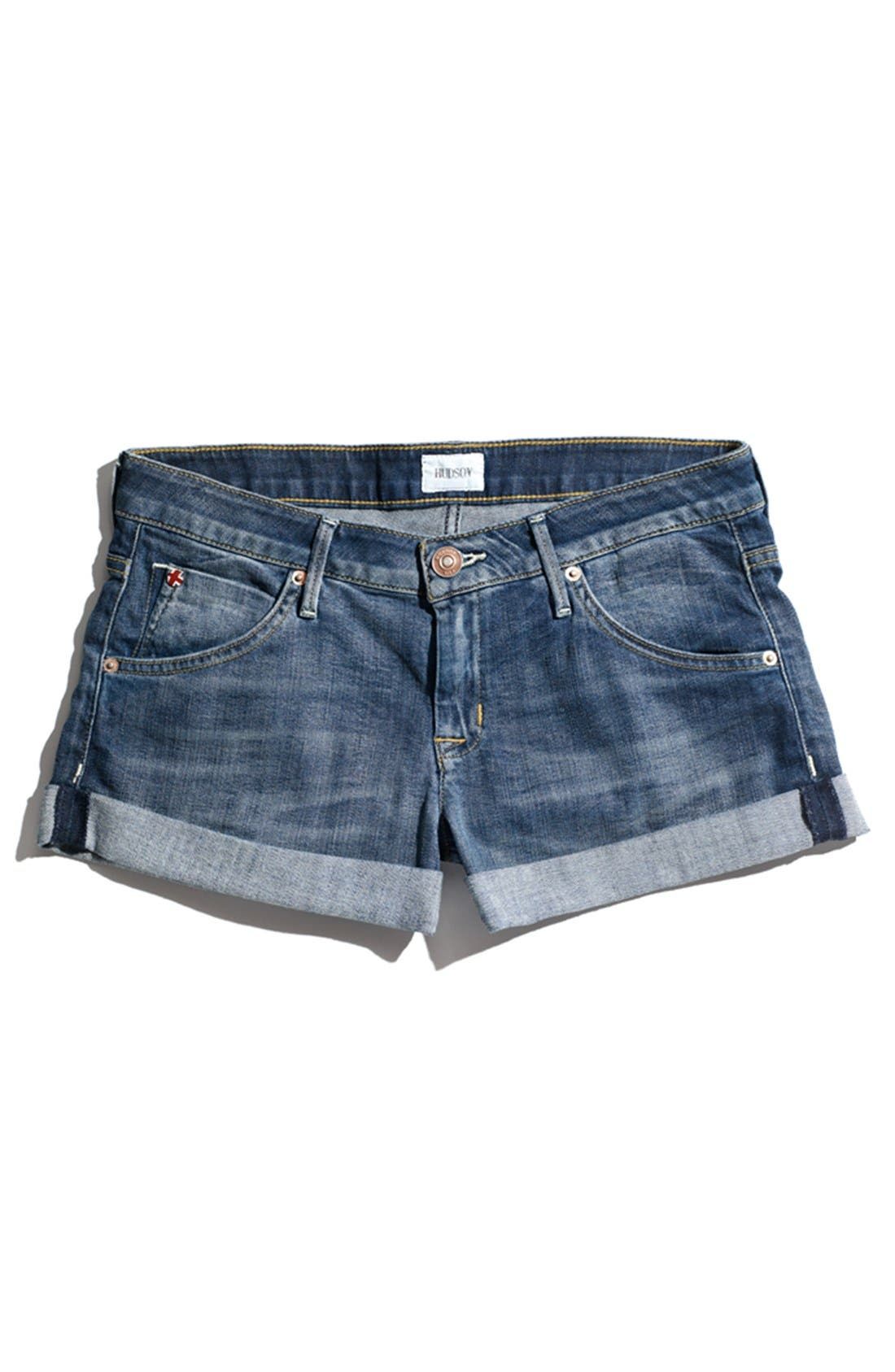 Cuff Denim Shorts,                             Alternate thumbnail 4, color,