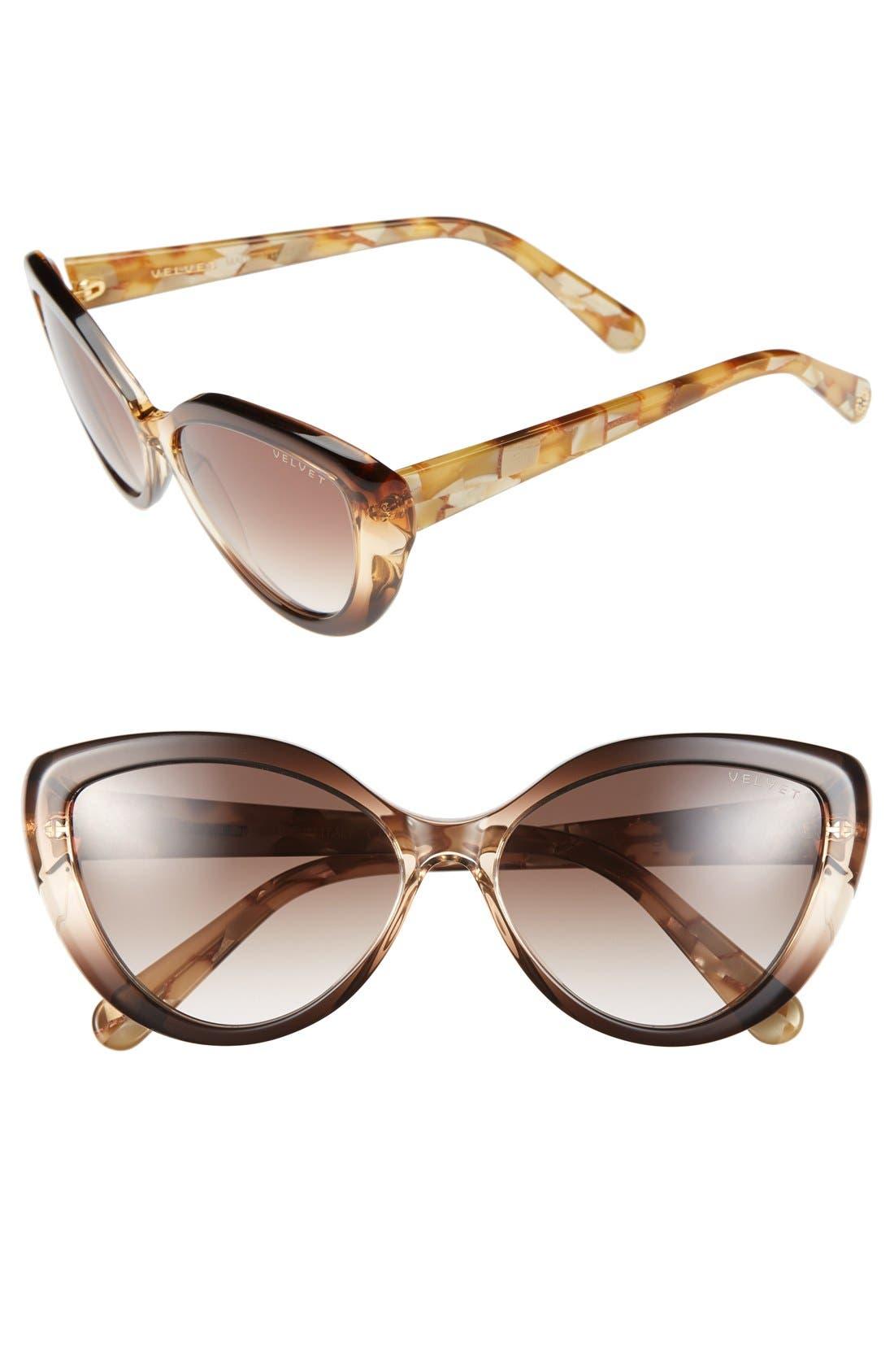 Alternate Image 1 Selected - Velvet Eyewear 'Joie' 55mm Cat Eye Sunglasses