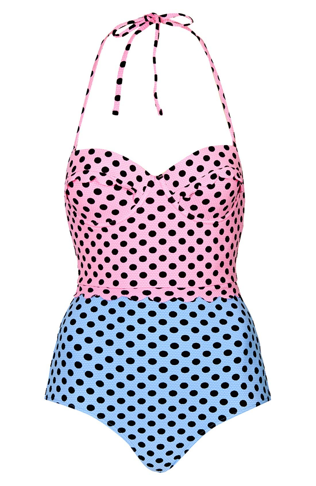Main Image - Topshop Colorblock One-Piece Swimsuit