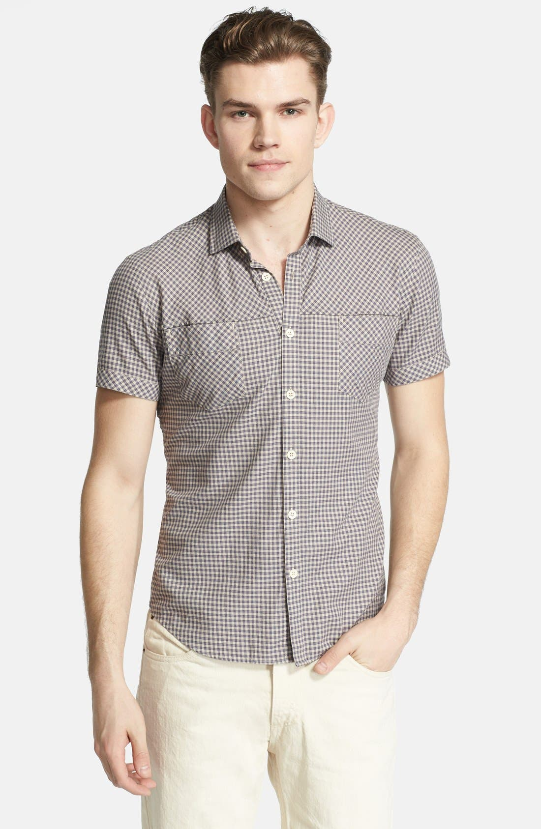 Main Image - Billy Reid 'Courtland' Check Short Sleeve Shirt