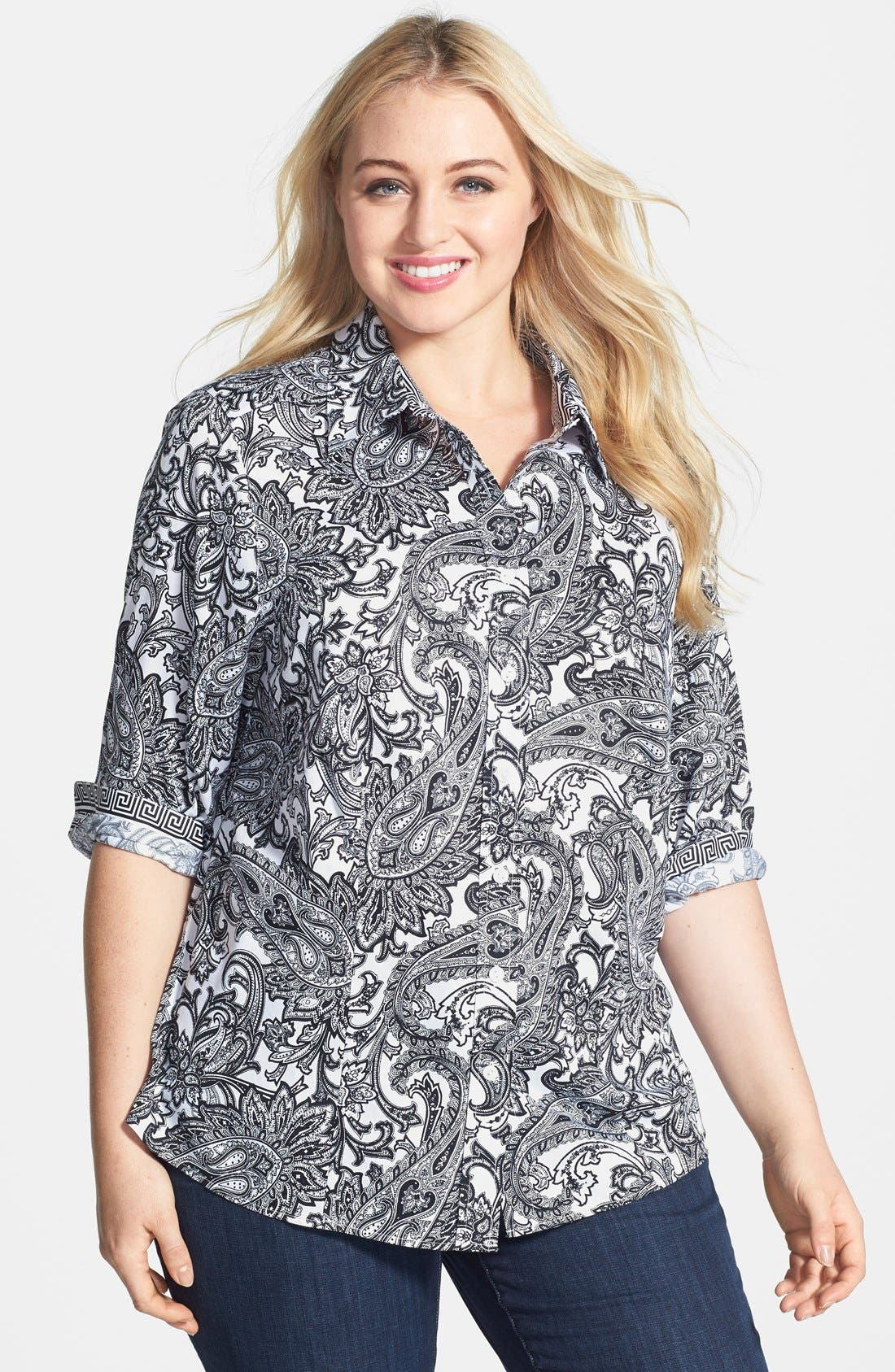 Main Image - Foxcroft 'Santorini' Paisley Print Wrinkle Free Cotton Shirt (Plus Size)