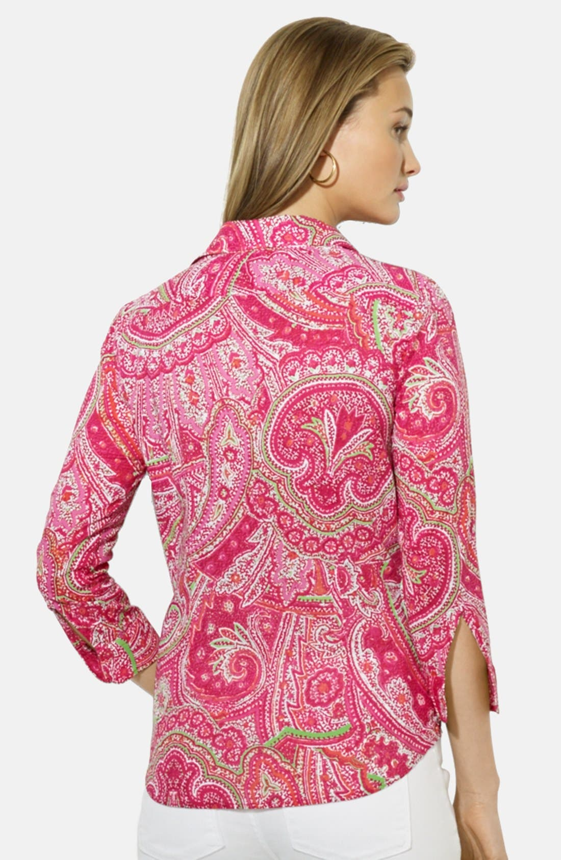 Paisley Print Cotton Shirt,                             Alternate thumbnail 2, color,                             Pink Multi