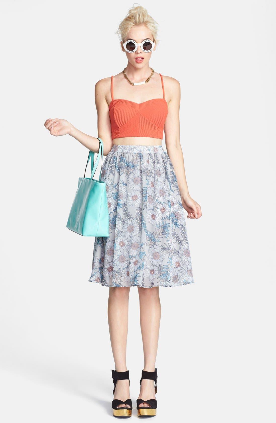 Alternate Image 5  - ASTR Floral Print High Rise Midi Skirt