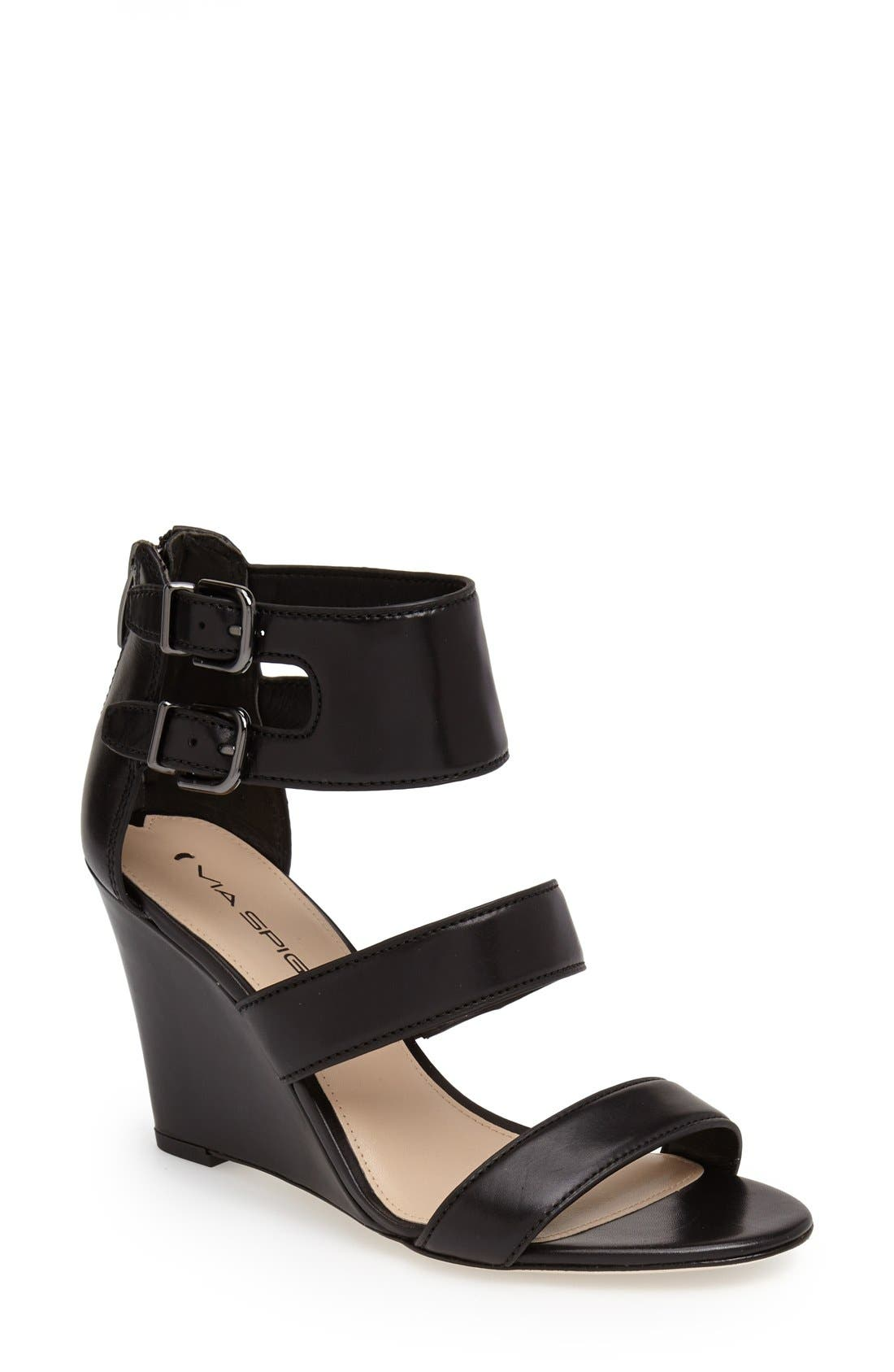 Main Image - Via Spiga 'Fernanda' Wedge Leather Sandal (Women)