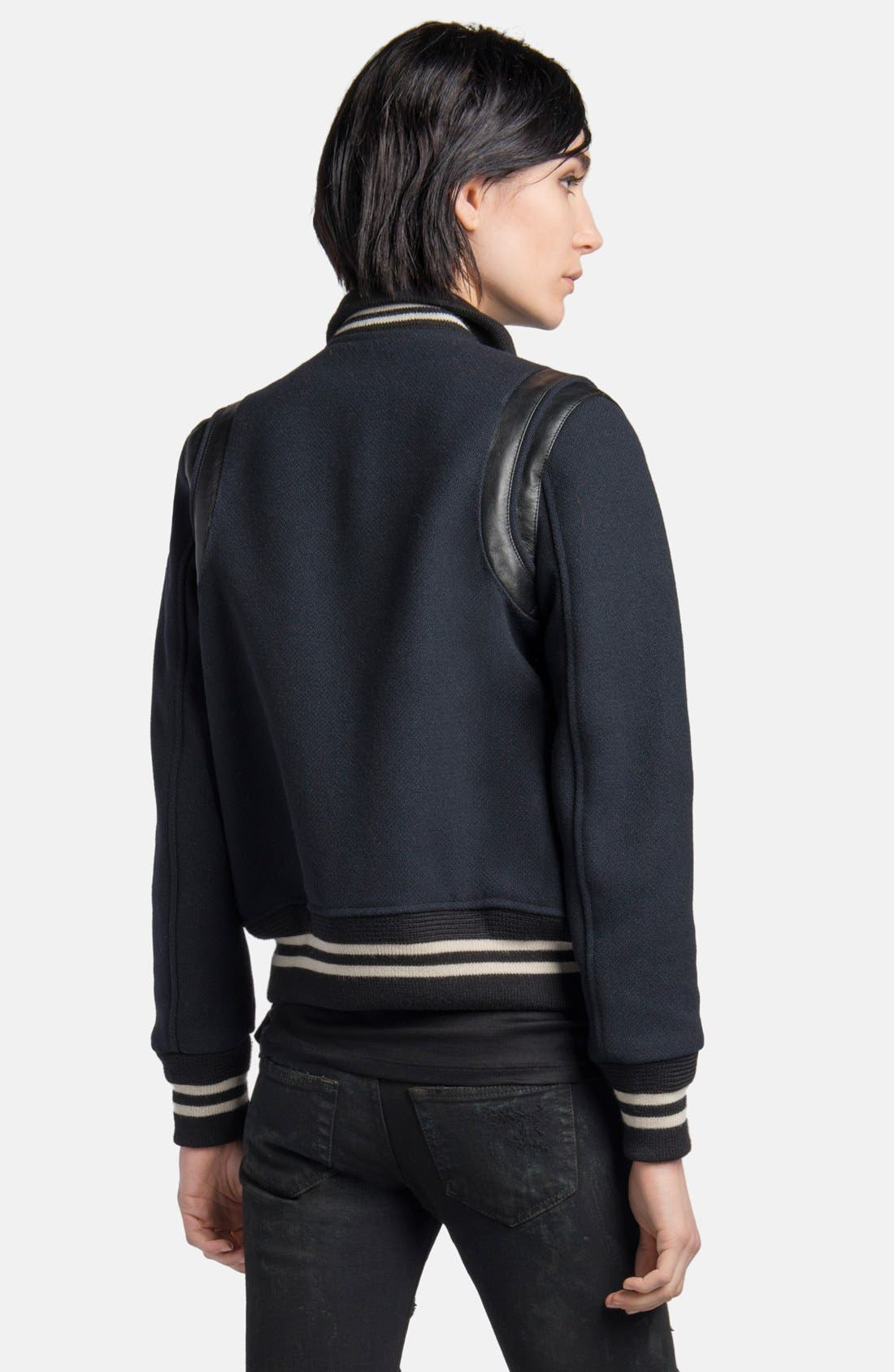 Alternate Image 2  - Saint Laurent 'Teddy' Leather Trim Bomber Jacket