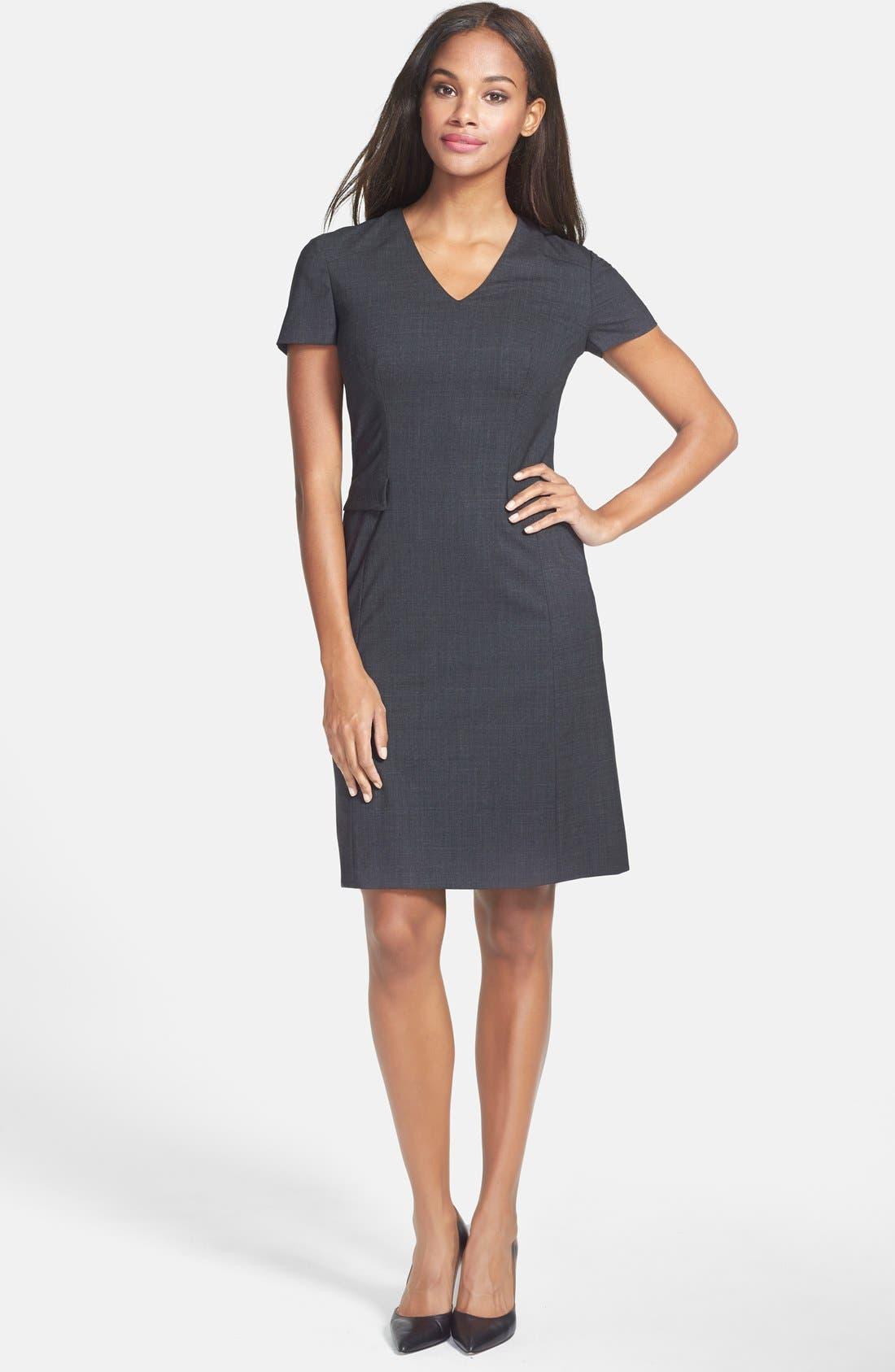 Main Image - BOSS 'Dilina' Stretch Wool Suiting Sheath Dress