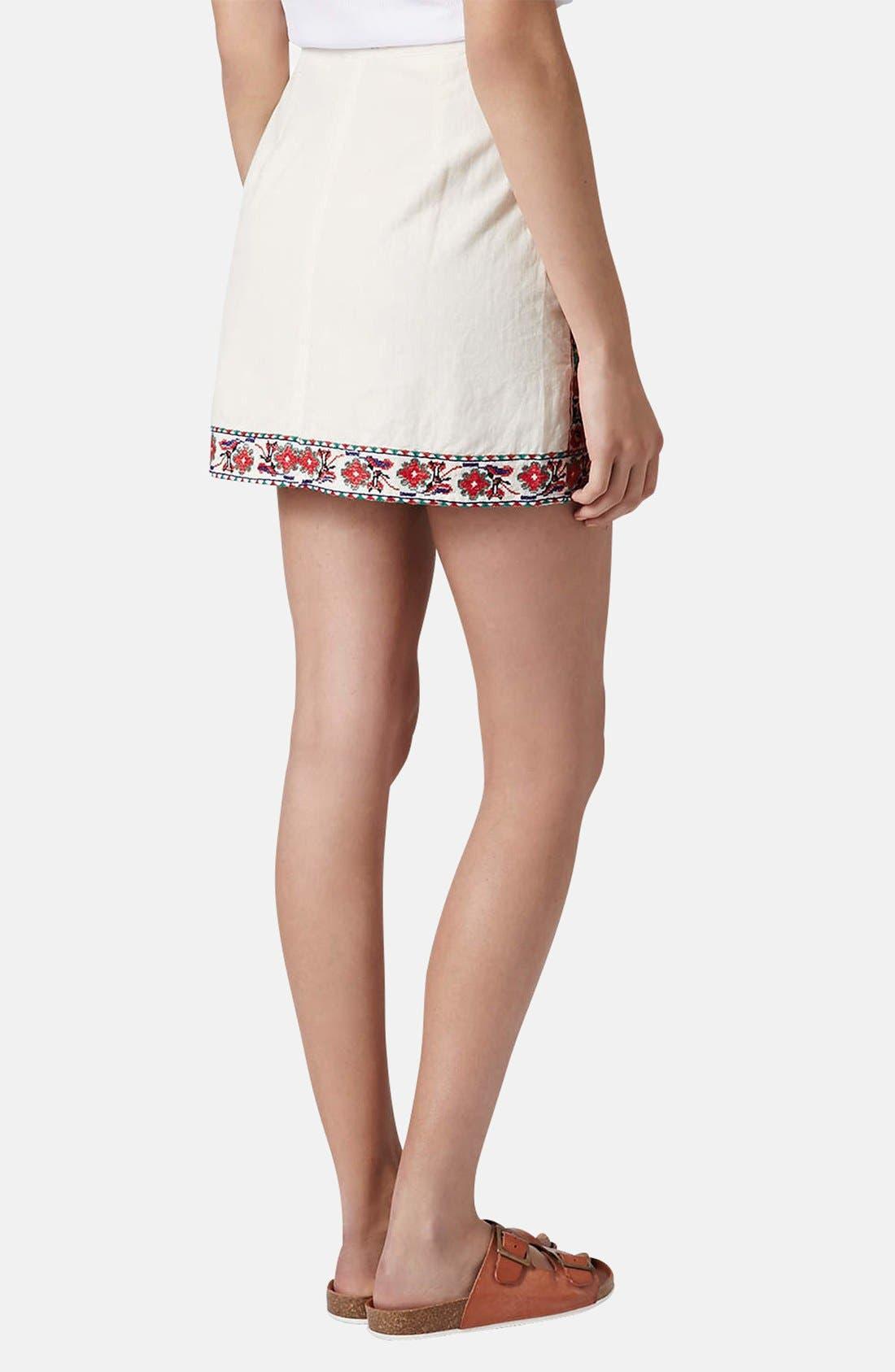 Alternate Image 2  - Topshop Embroidered A-Line Skirt