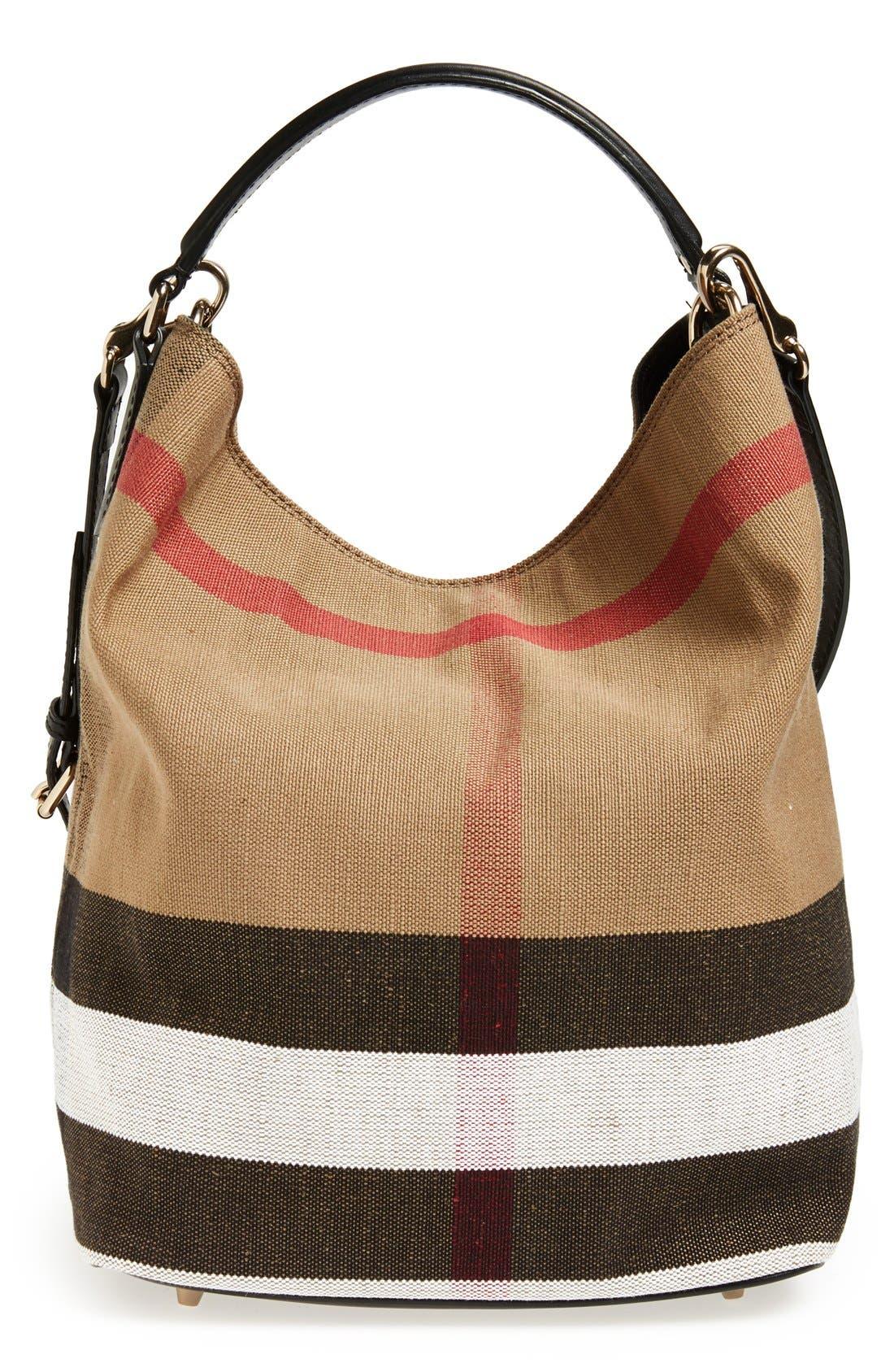 Medium Susanna Check Print Bucket Bag,                             Main thumbnail 1, color,                             Black