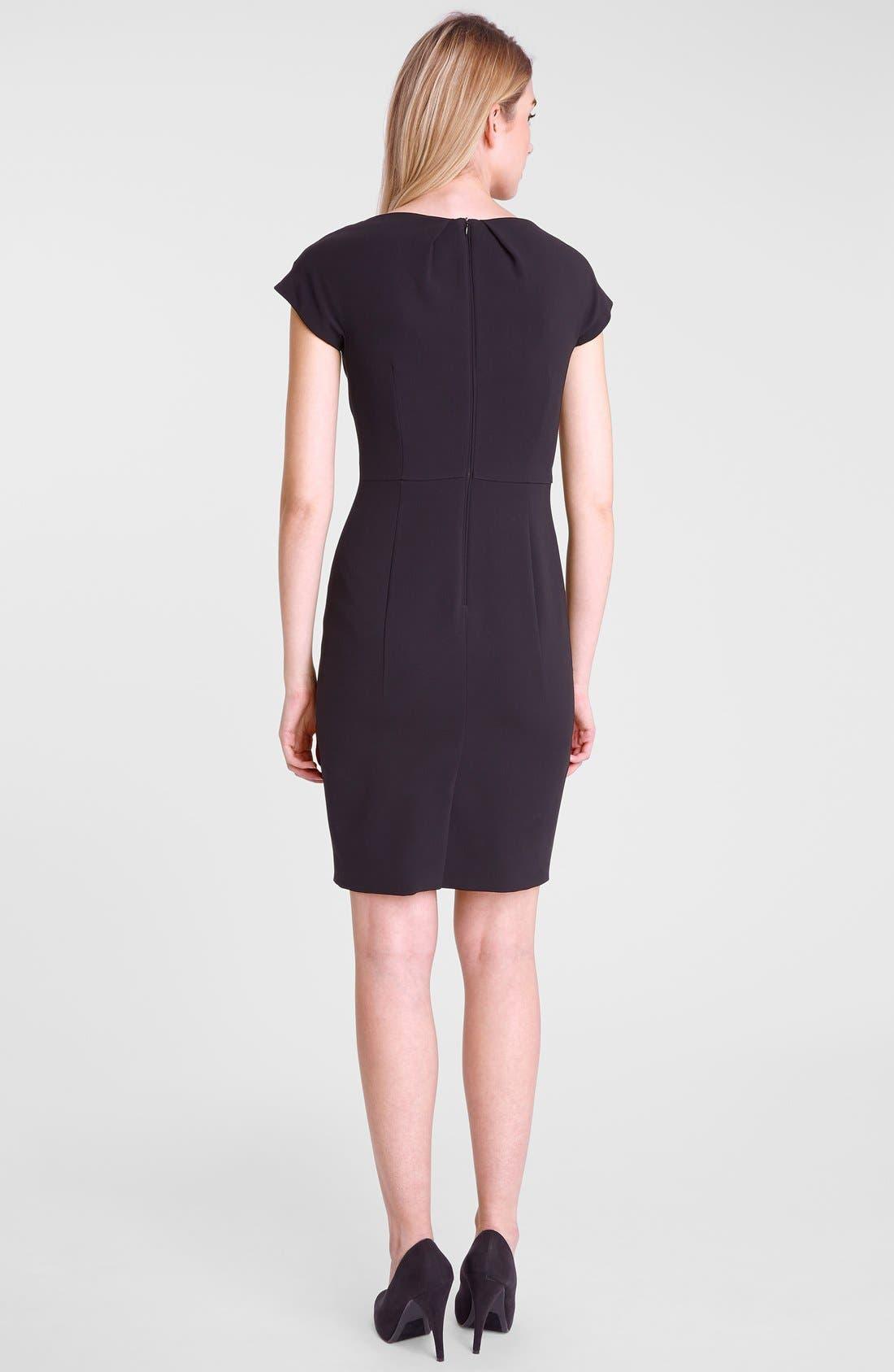Alternate Image 2  - Tahari Gathered Neck Crepe Sheath Dress (Petite)