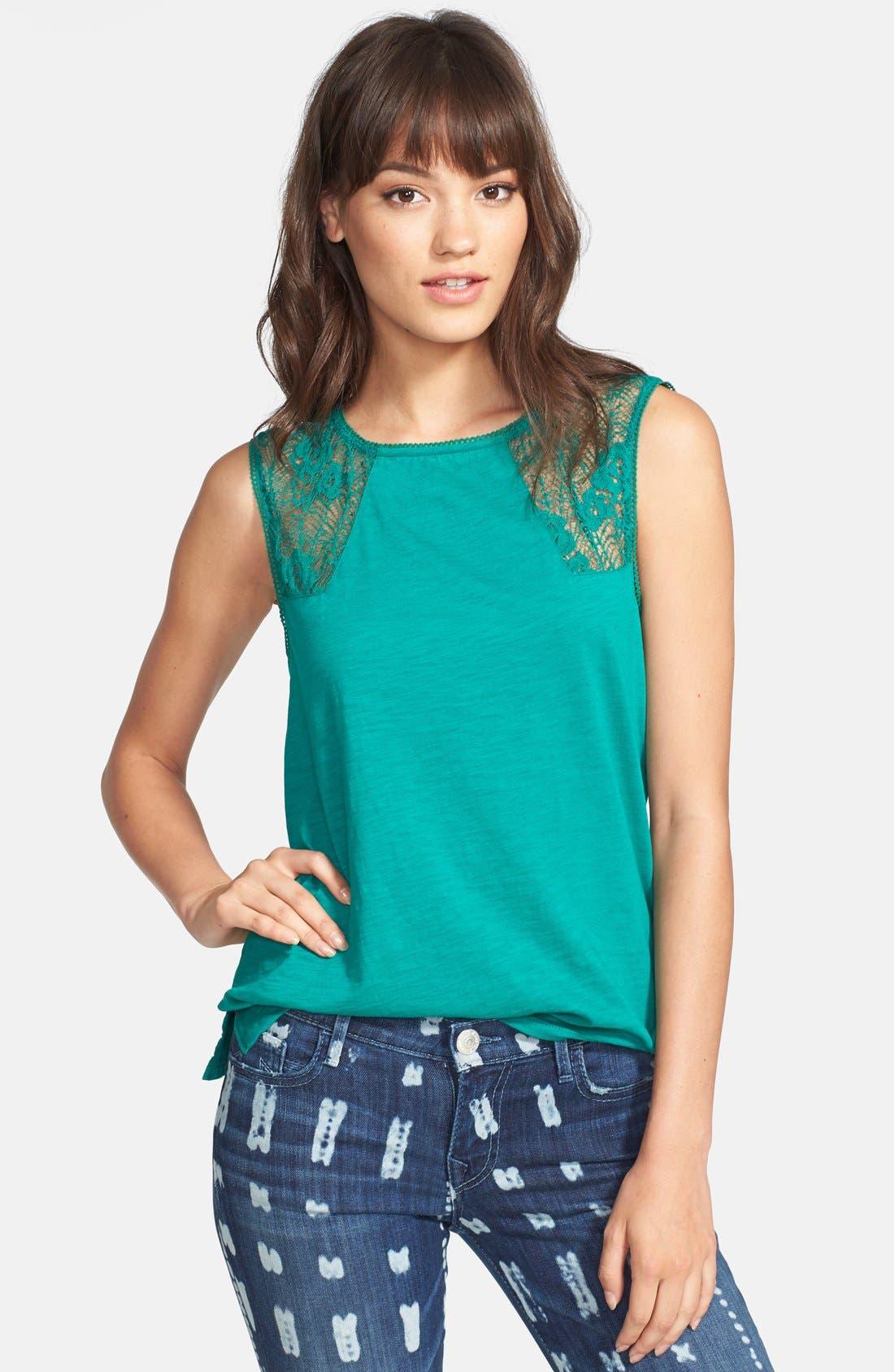 Alternate Image 1 Selected - Hinge® Lace Inset Slub Knit Tank