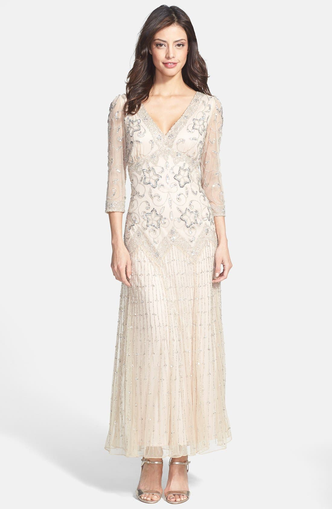 Main Image - Pisarro Nights Beaded Mesh Dress (Regular & Petite)