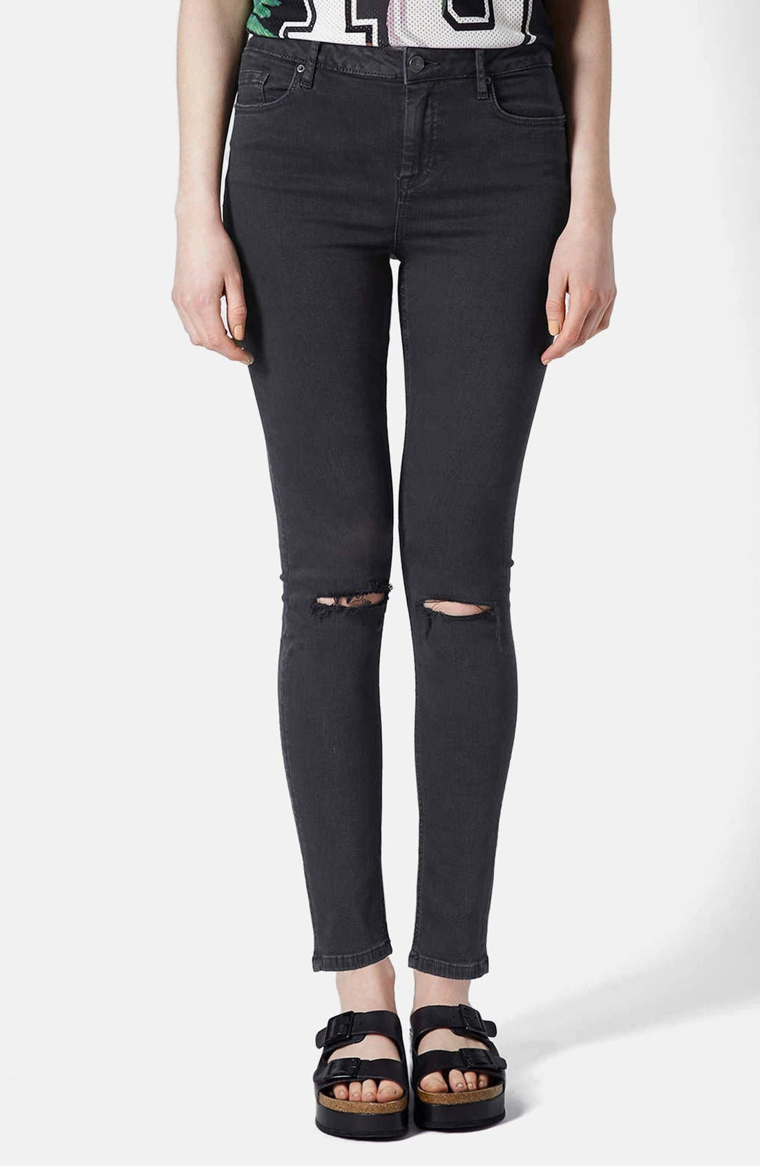 Main Image - Topshop Moto 'Jamie' Ripped High Rise Ankle Skinny Jeans (Black) (Regular & Short)