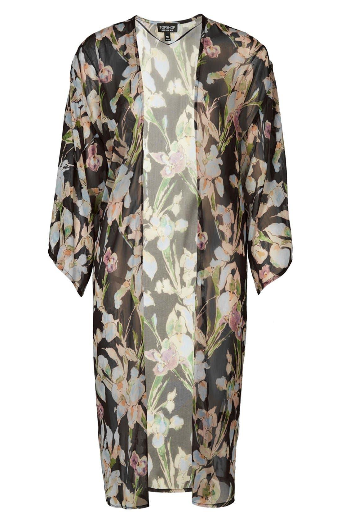 Iris Print Kimono Jacket,                             Alternate thumbnail 3, color,                             Pink Multi