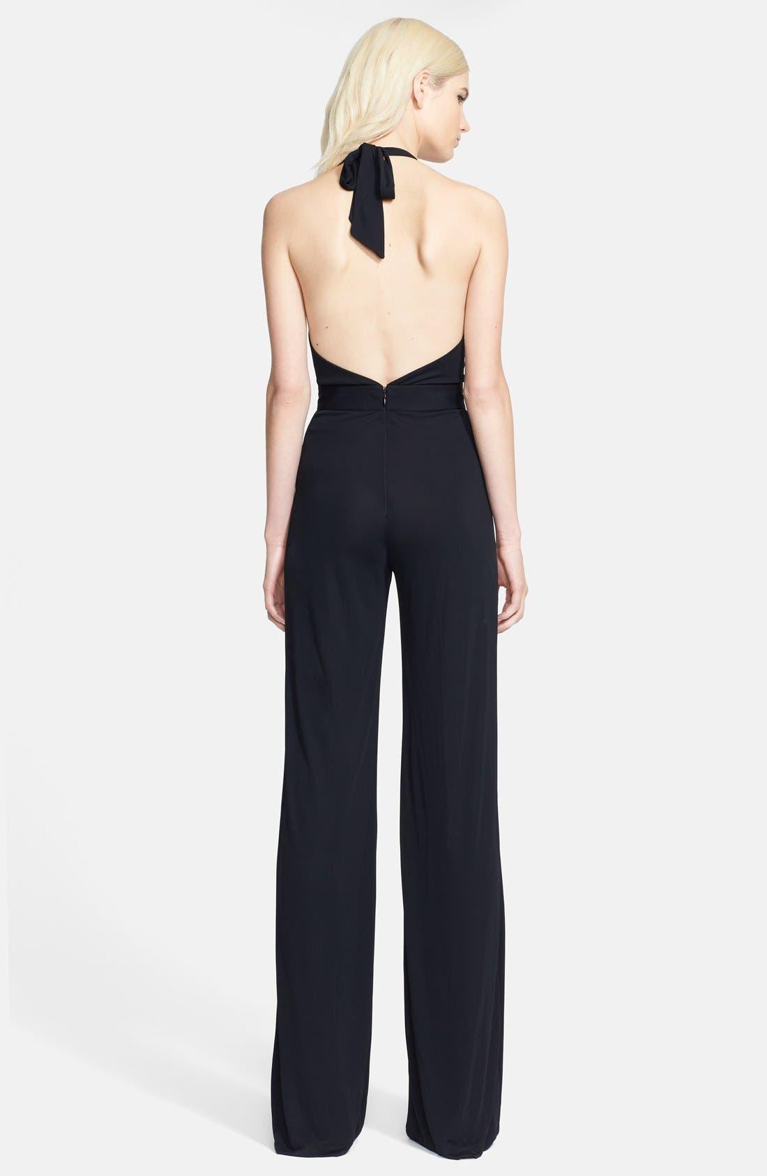 Alternate Image 2  - Versace Collection Crepe Jersey Halter Jumpsuit
