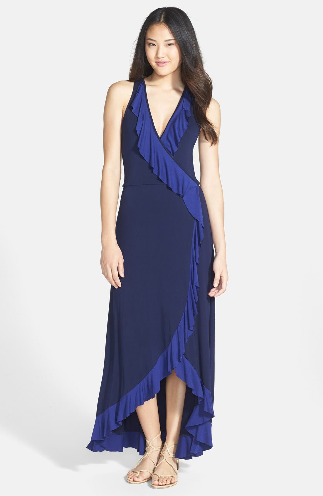 Alternate Image 1 Selected - Felicity & Coco Ruffled Faux Wrap Maxi Dress (Nordstrom Exclusive)
