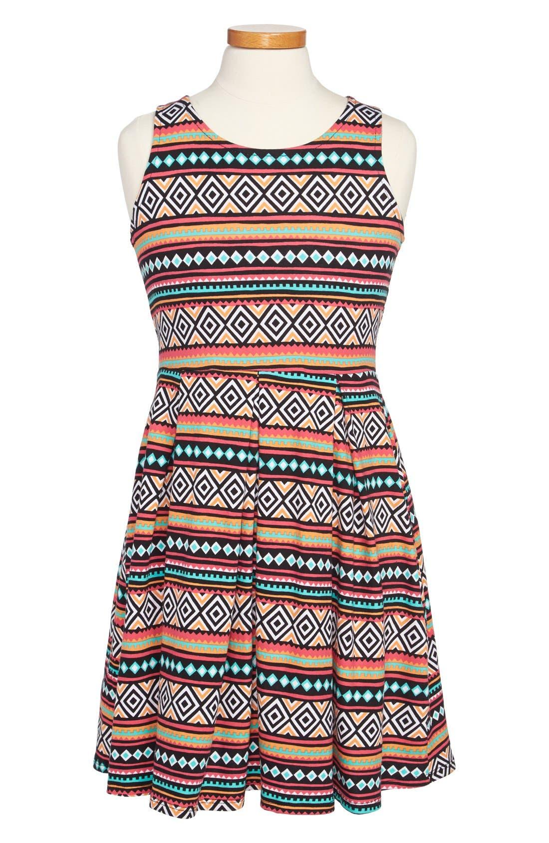 Main Image - Soprano Chevron Print Skater Dress (Big Girls)
