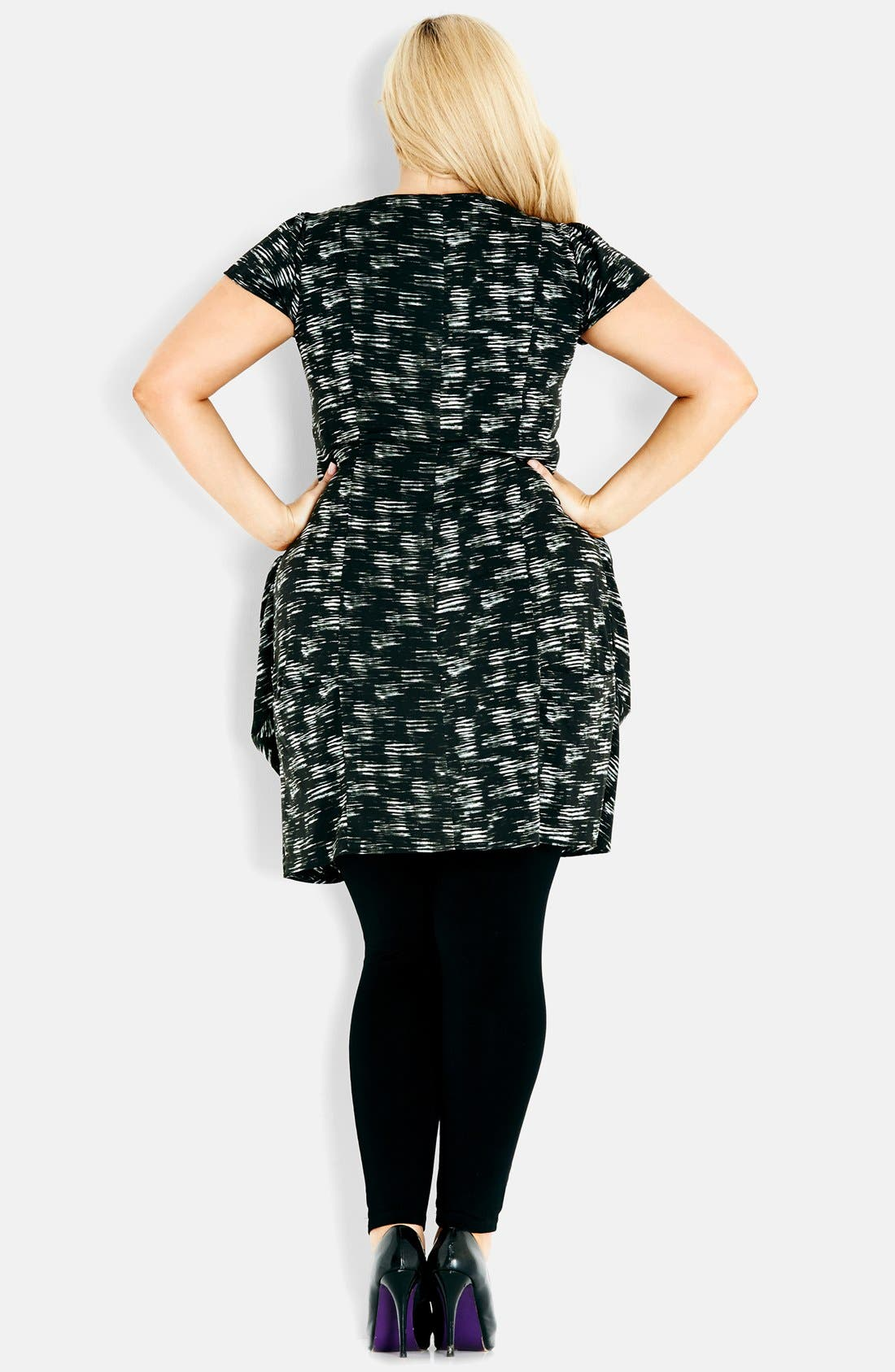 Alternate Image 2  - City Chic Print Front Zip Pleat Tunic (Plus Size)