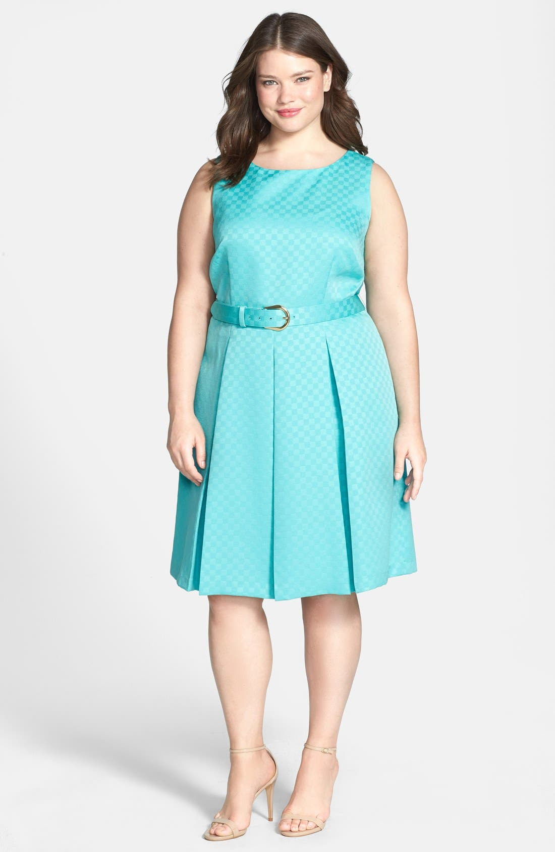 Alternate Image 1 Selected - Tahari Belted Jacquard Pleat Fit & Flare Dress (Plus Size)