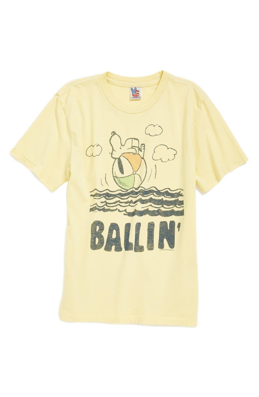 Alternate Image 1 Selected - Junk Food 'Snoopy Ballin'' Cotton Jersey T-Shirt (Toddler Boys & Little Boys)