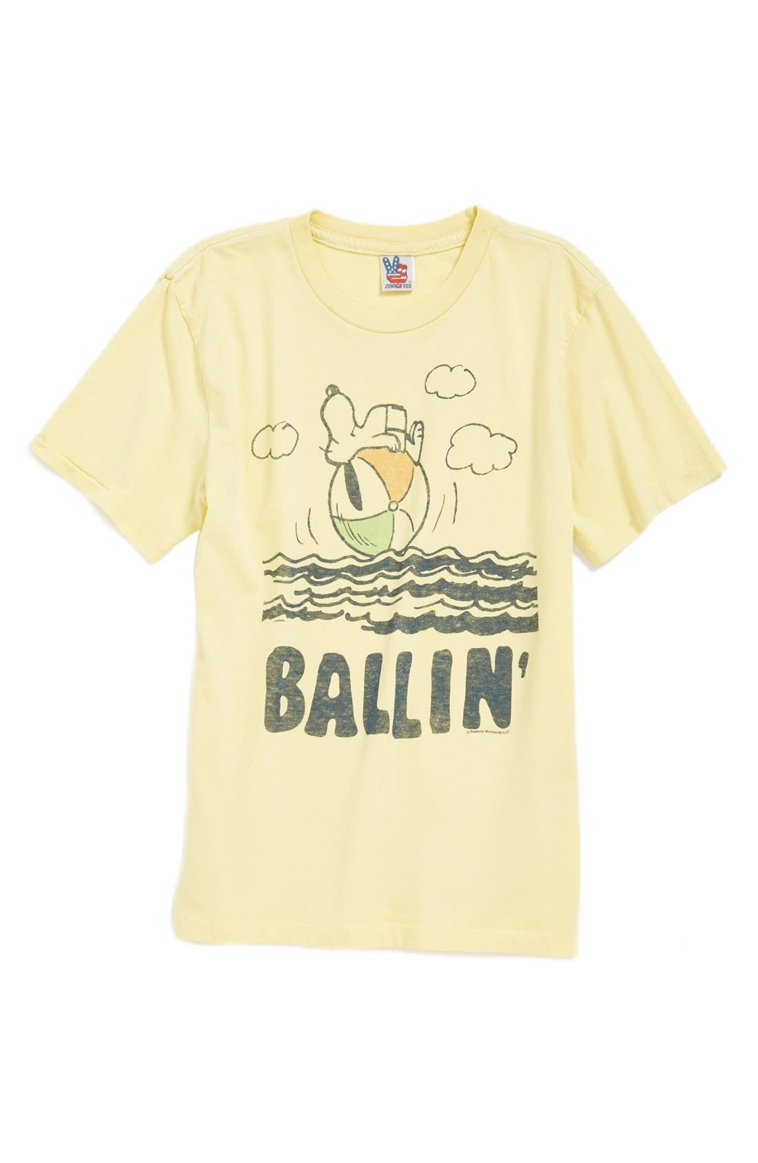 Main Image - Junk Food 'Snoopy Ballin'' Cotton Jersey T-Shirt (Toddler Boys & Little Boys)