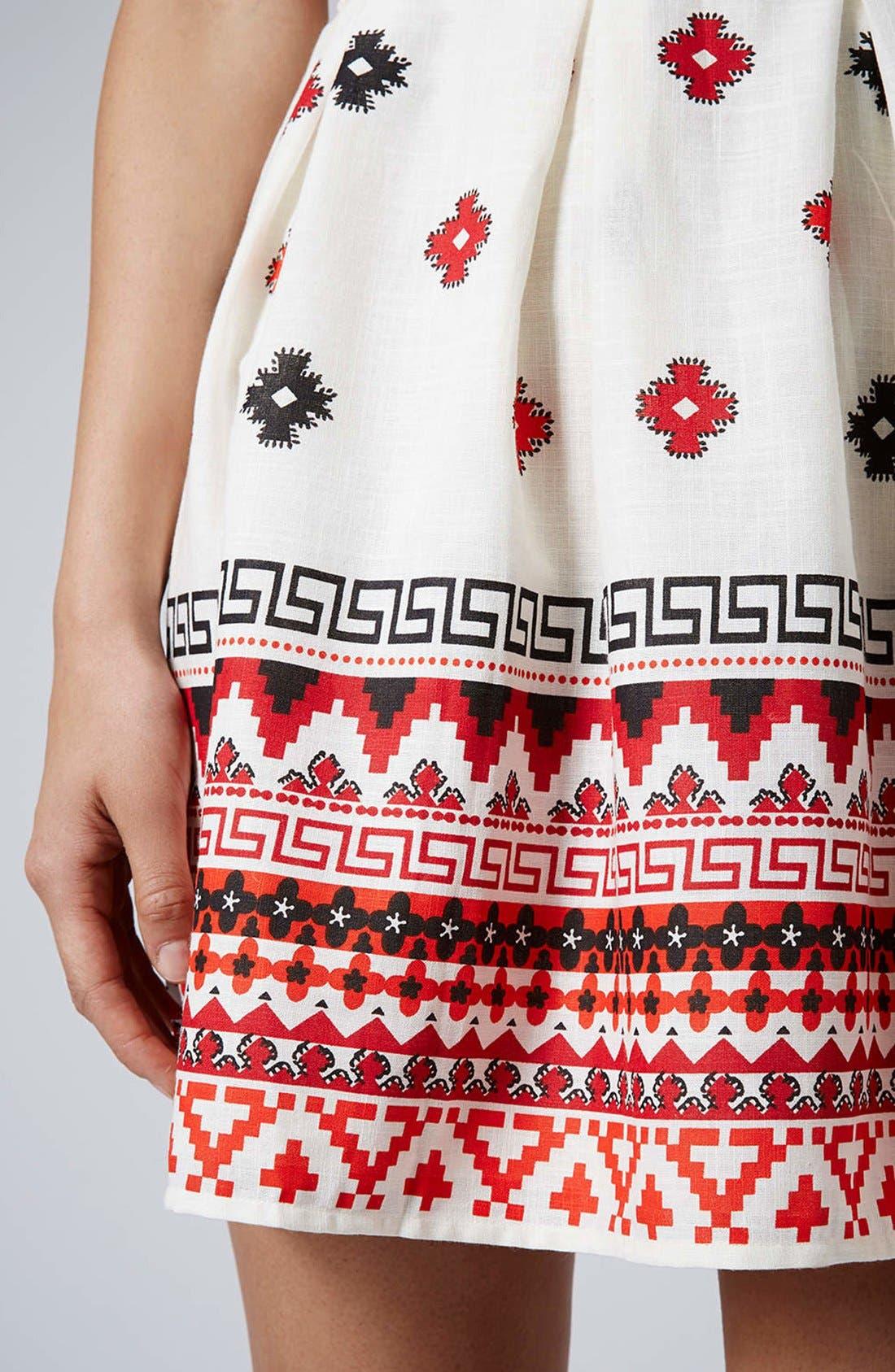 Print Pompom Trim Fit & Flare Dress,                             Alternate thumbnail 4, color,                             White