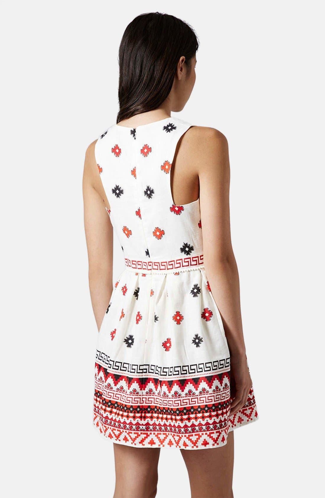 Print Pompom Trim Fit & Flare Dress,                             Alternate thumbnail 2, color,                             White