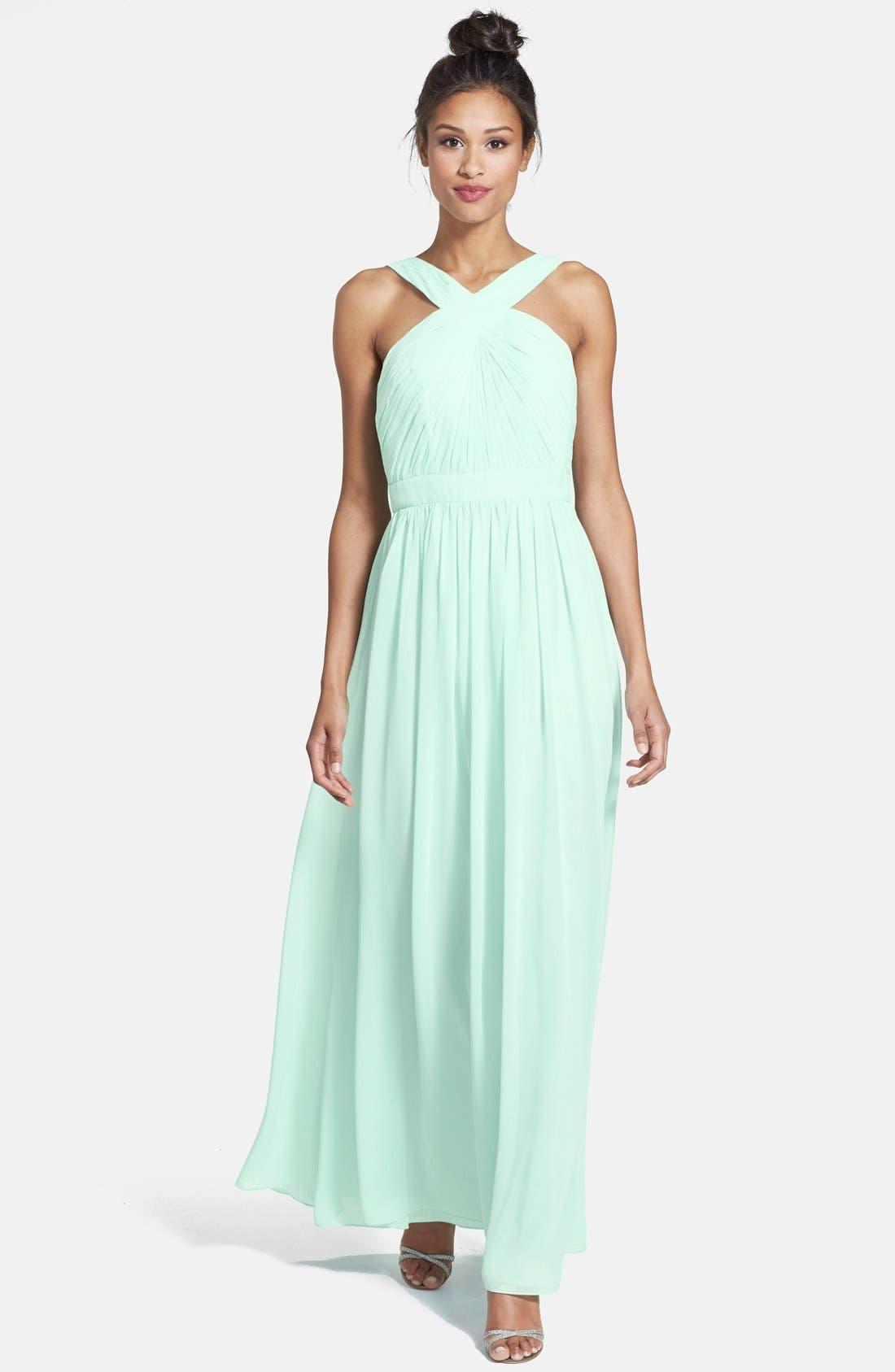 Alternate Image 1 Selected - Monique Lhuillier Bridesmaids Crisscross Chiffon Gown (Nordstrom Exclusive)