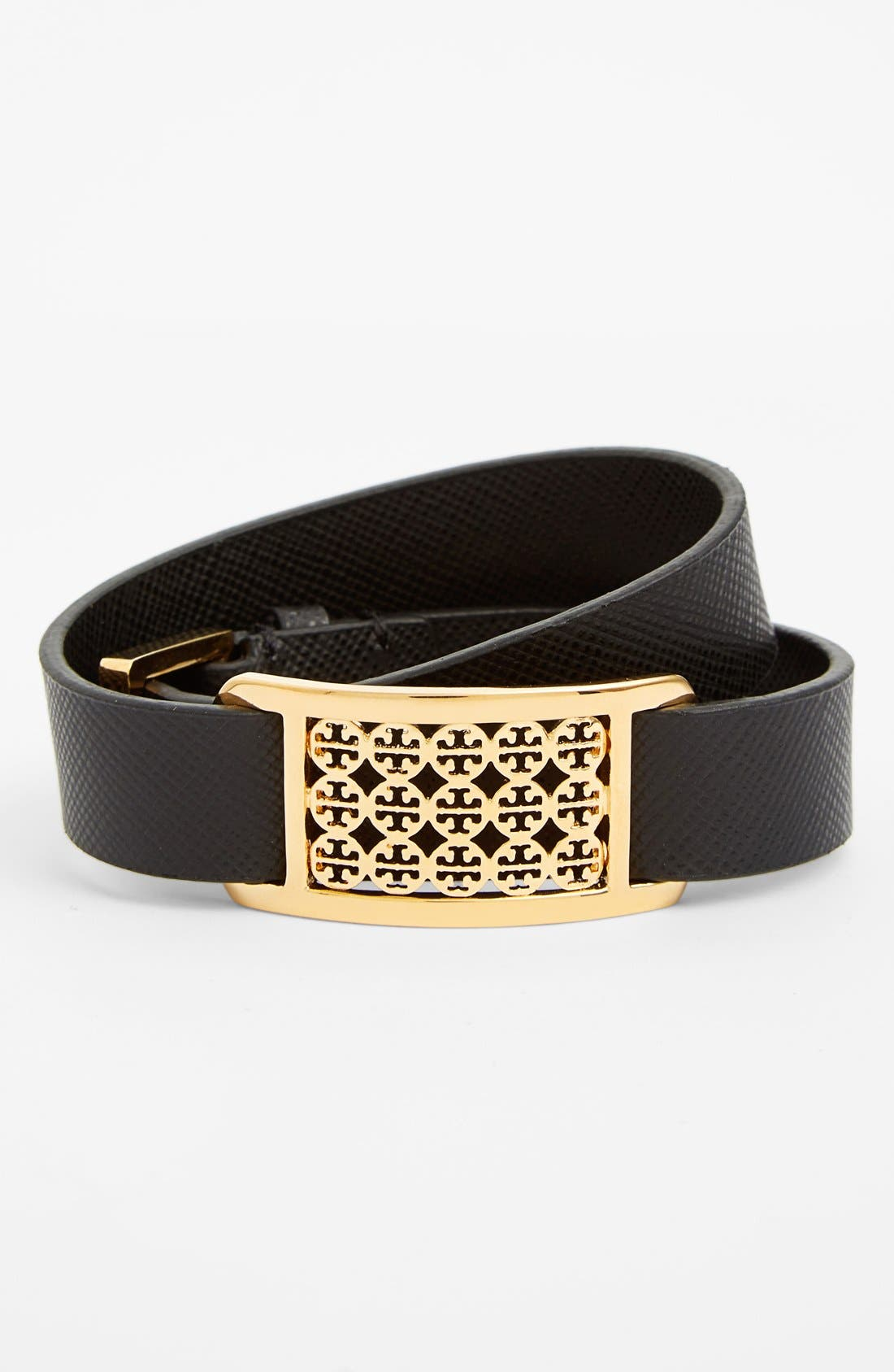 Alternate Image 1 Selected - Tory Burch 'Kinsley' Logo Plaque Leather Wrap Bracelet
