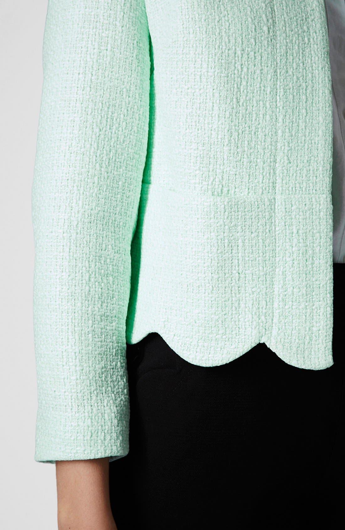 Alternate Image 4  - Topshop 'Betty' Scalloped Coated Bouclé Jacket