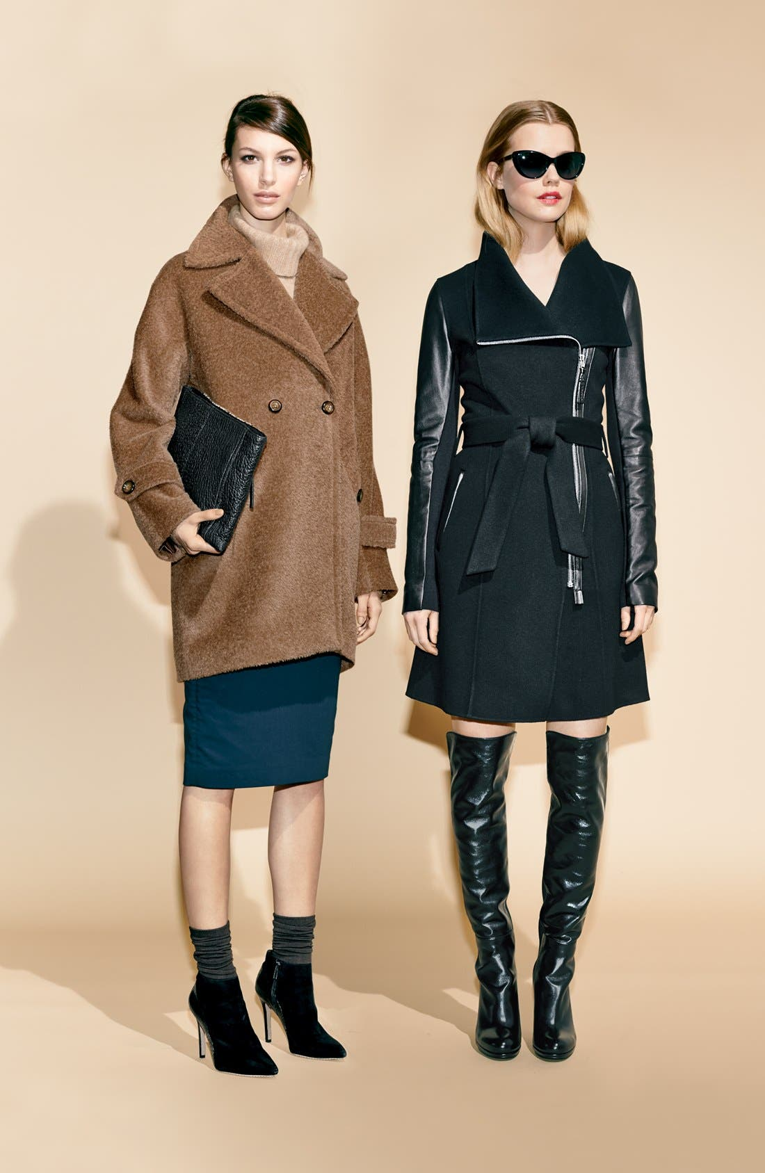 Alternate Image 4  - Mackage 'Hemy' Leather Sleeve Asymmetrical Long Coat
