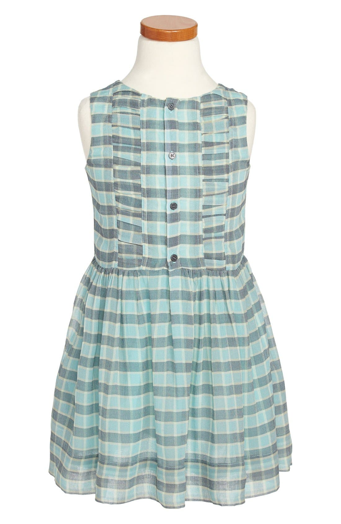Alternate Image 1 Selected - Burberry Ruched Silk Dress (Little Girls & Big Girls)