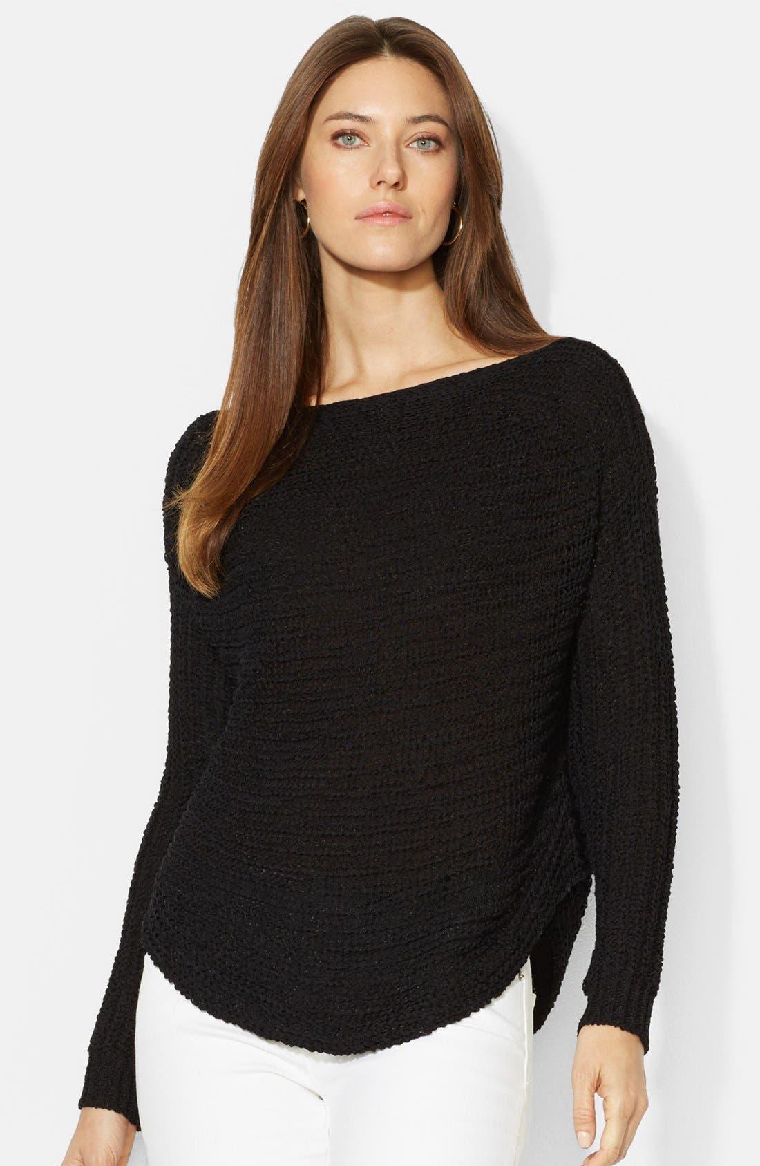 Alternate Image 1 Selected - Lauren Ralph Lauren Open Stitch Boatneck Sweater