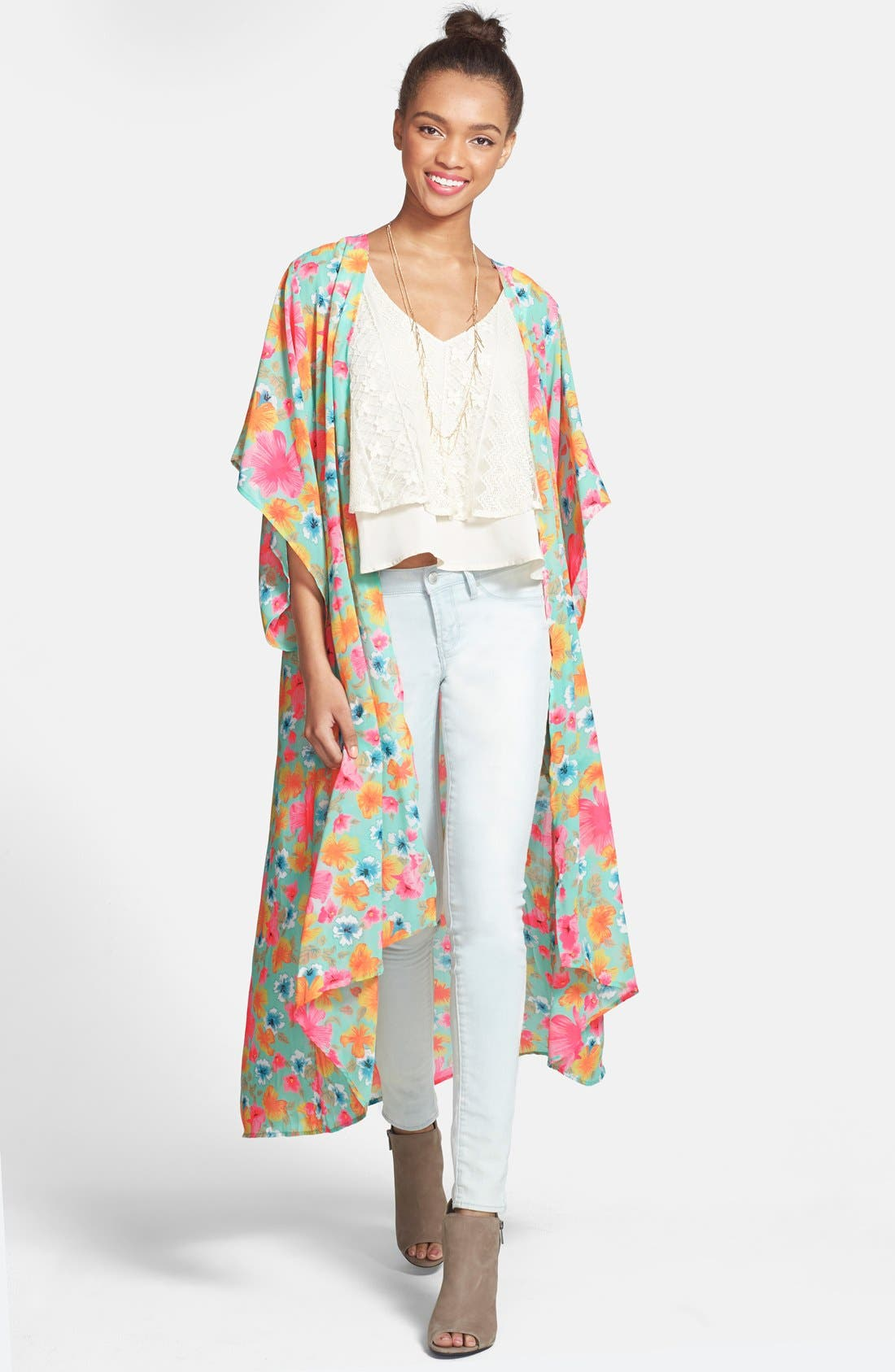 Main Image - Band of Gypsies Floral Print Duster Kimono Jacket (Juniors)