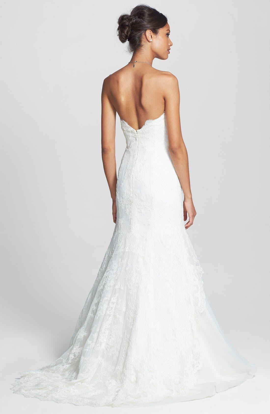 Alternate Image 2  - BLISS Monique Lhuillier Lace Overlay Tulle Trumpet Wedding Dress