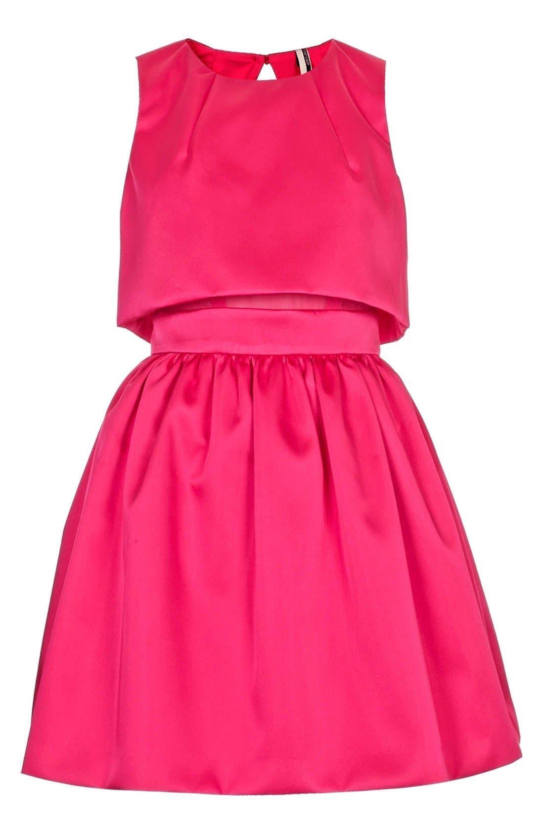 'Duchess' Crop Overlay Satin Skater Dress,                             Alternate thumbnail 3, color,                             Pink