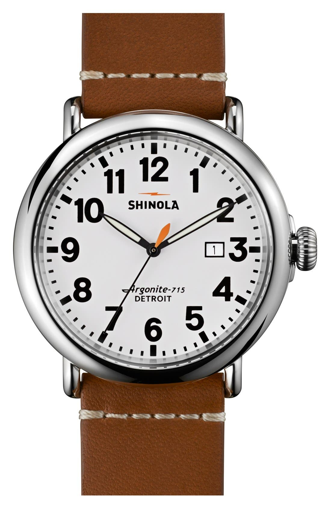 'The Runwell' Round Leather Strap Watch, 47mm,                         Main,                         color, Brown/ White