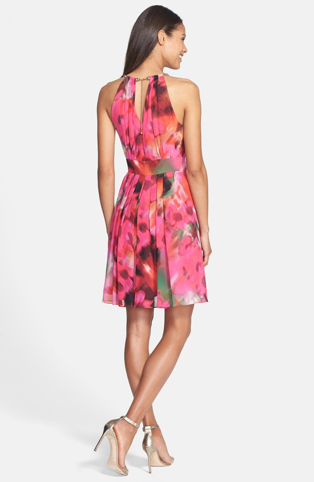 Alternate Image 2  - Eliza J Print Pleat Fit & Flare Dress (Regular & Petite)
