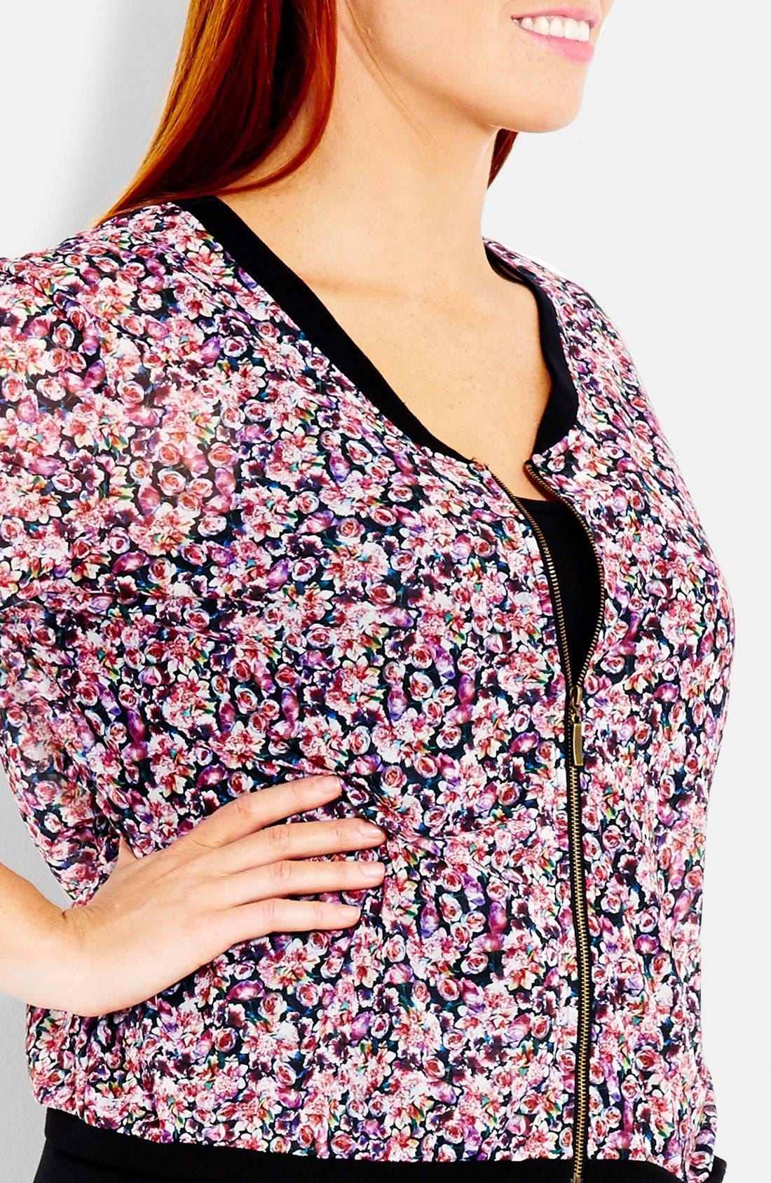 Alternate Image 3  - City Chic 'Soft Biker' Floral Print Bomber Jacket (Plus Size)