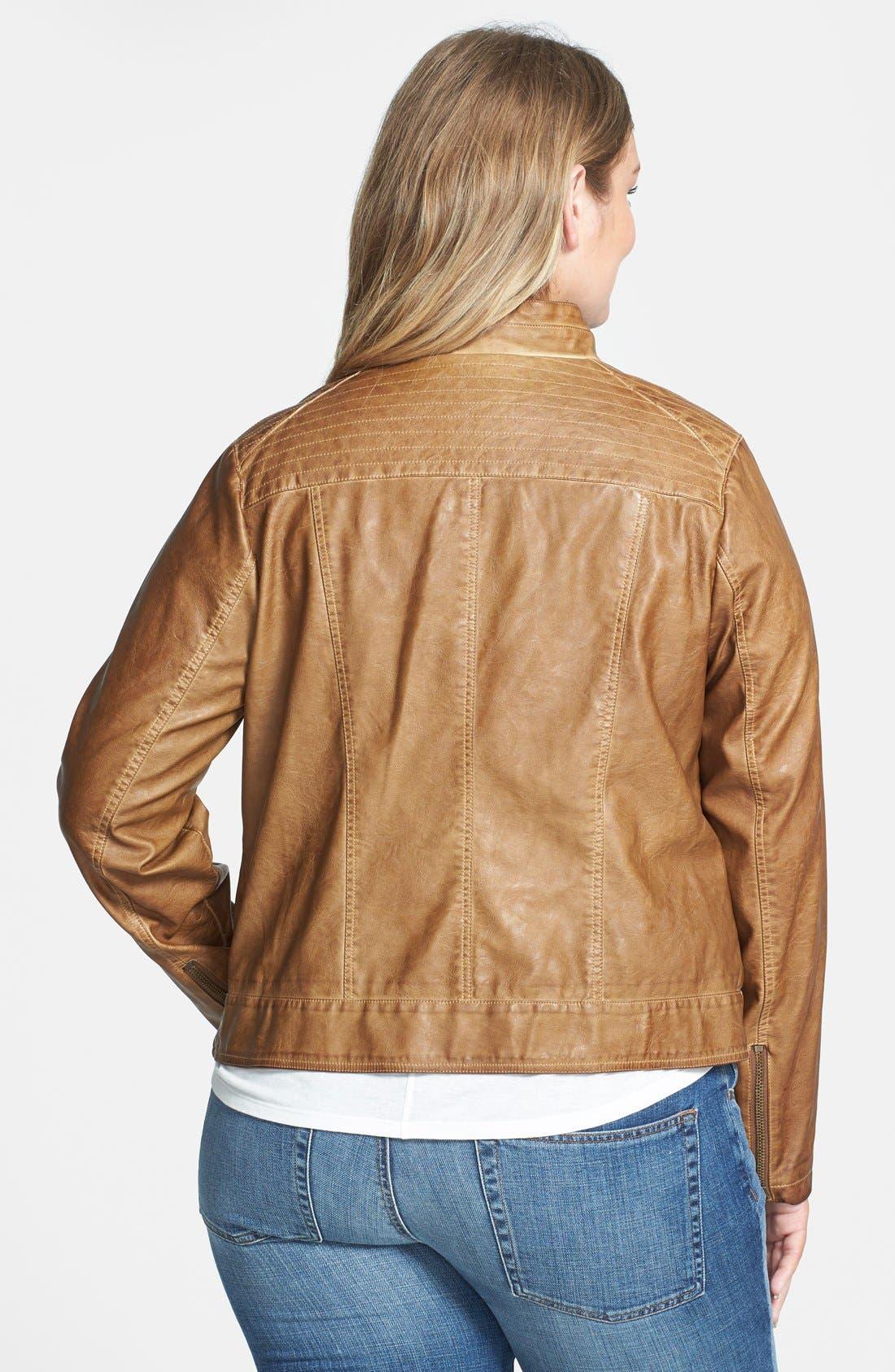 Alternate Image 2  - BB Dakota 'Janeen' Faux Leather Moto Jacket (Plus Size)