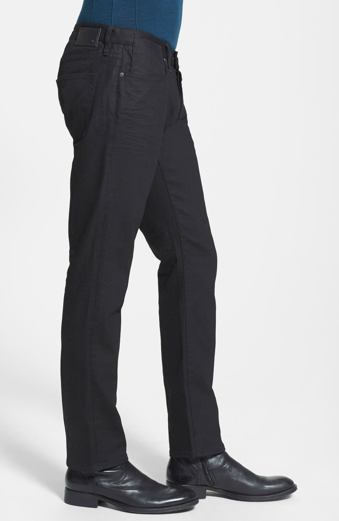 Alternate Image 3  - John Varvatos Star USA 'Bowery' Slim Straight Leg Jeans (Jet Black)
