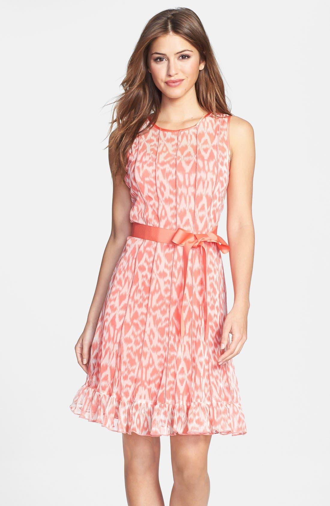 Main Image - Eliza J Print Pintuck Chiffon Fit & Flare Dress (Petite)