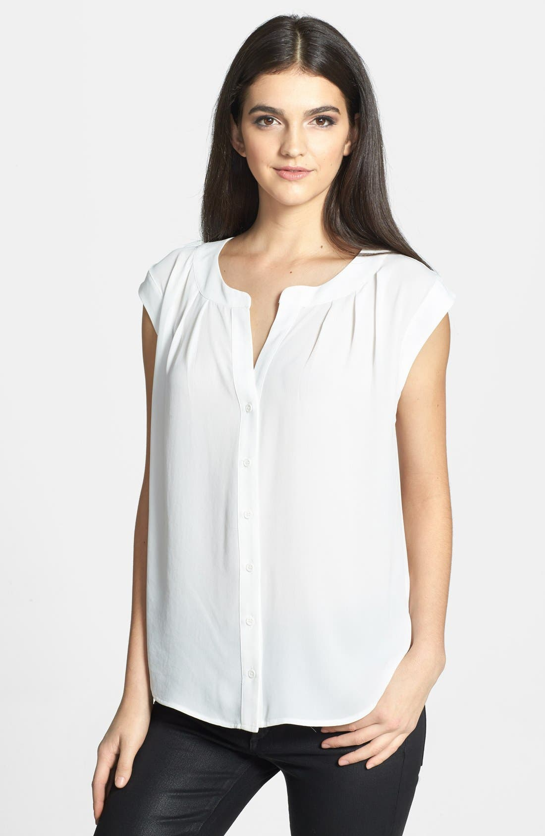 Alternate Image 1 Selected - Ro & De Pleated Button Front Top (Petite)