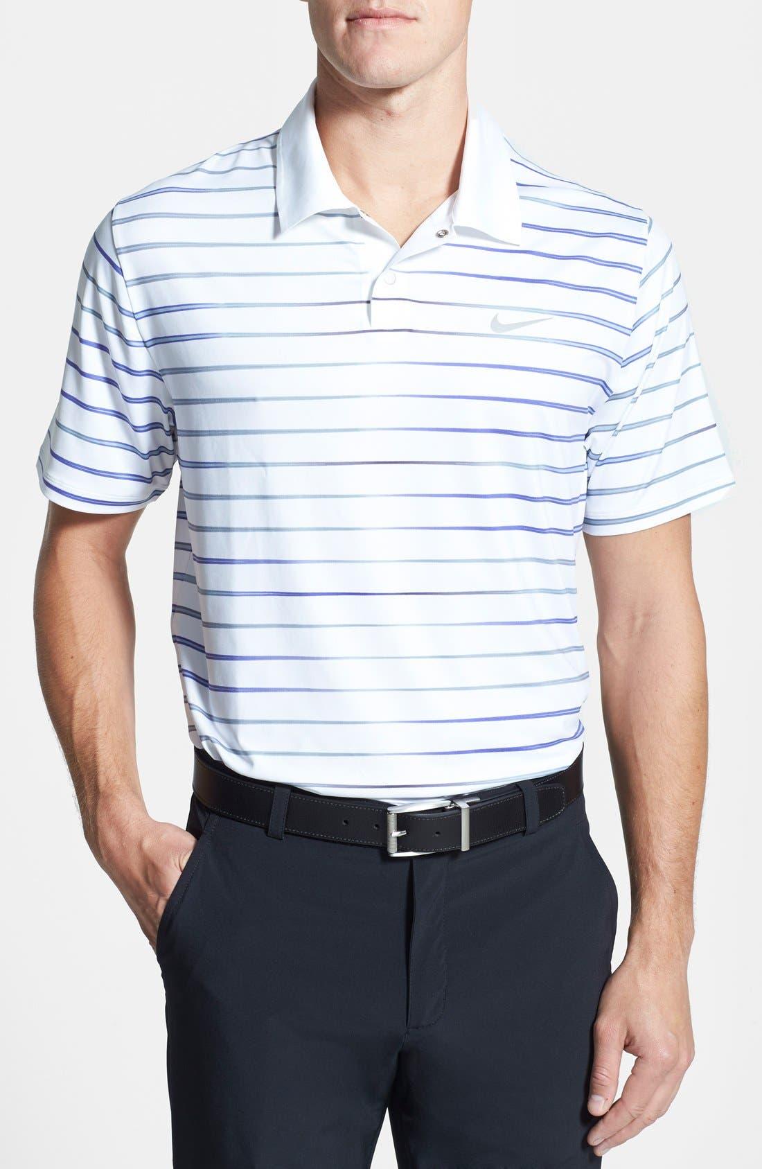 Alternate Image 1 Selected - Nike 'TW Iridescent Stripe' Dri-FIT Polo