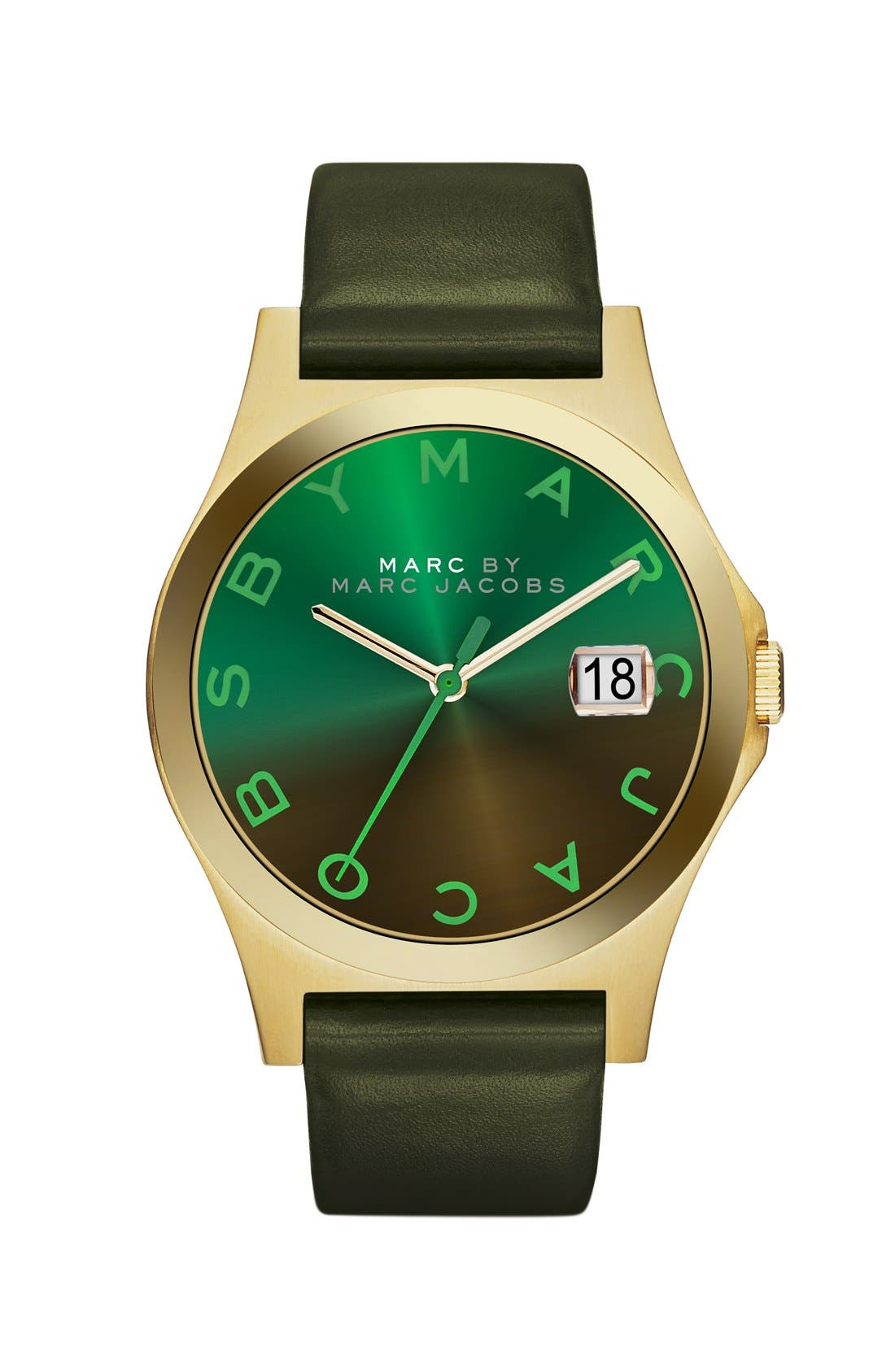 Alternate Image 1 Selected - MARC JACOBS 'The Slim' Ombré Dial Leather Strap Watch, 36mm