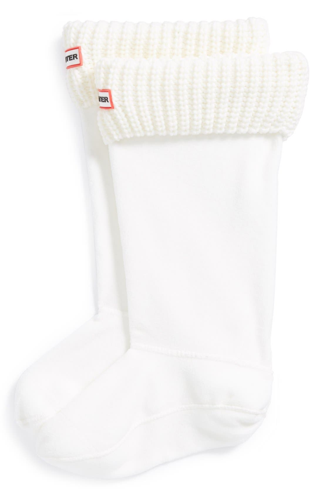 Tall Cardigan Knit Cuff Welly Boot Socks,                         Main,                         color, White